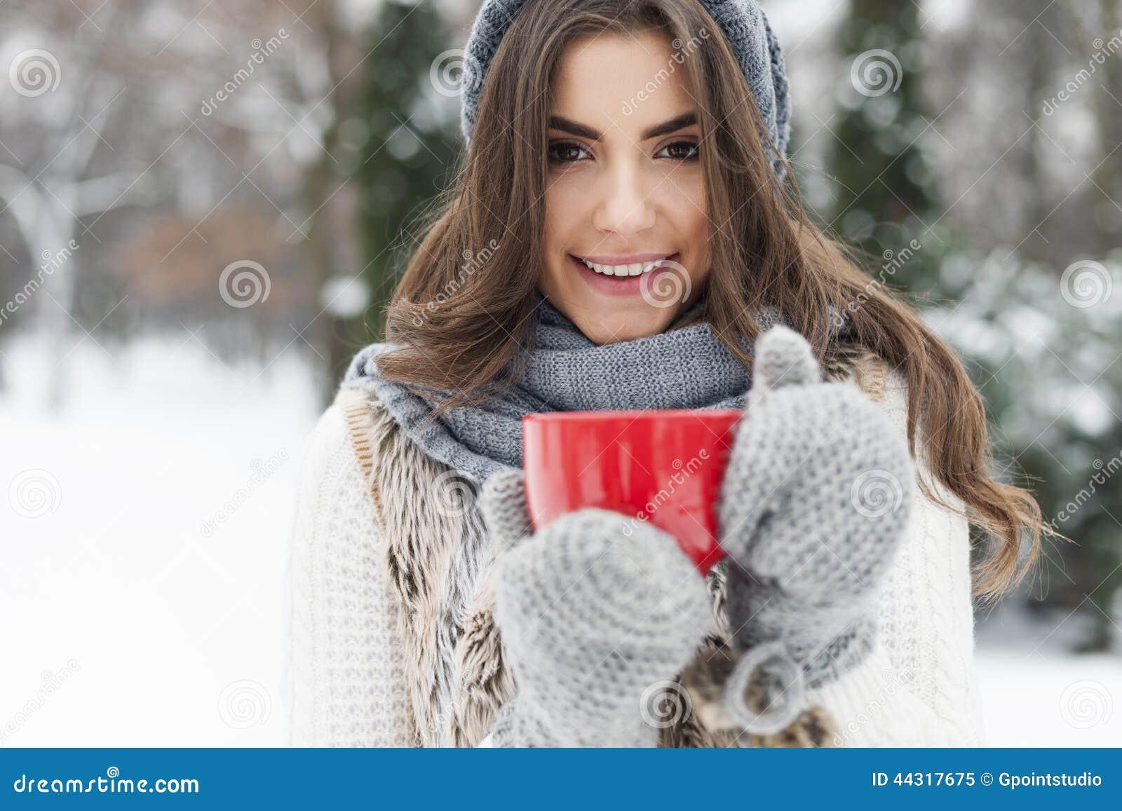 热的茶在冬天