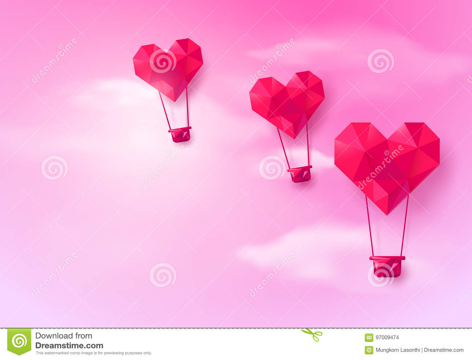 热空气迅速增加在桃红色天空背景的心形的飞行