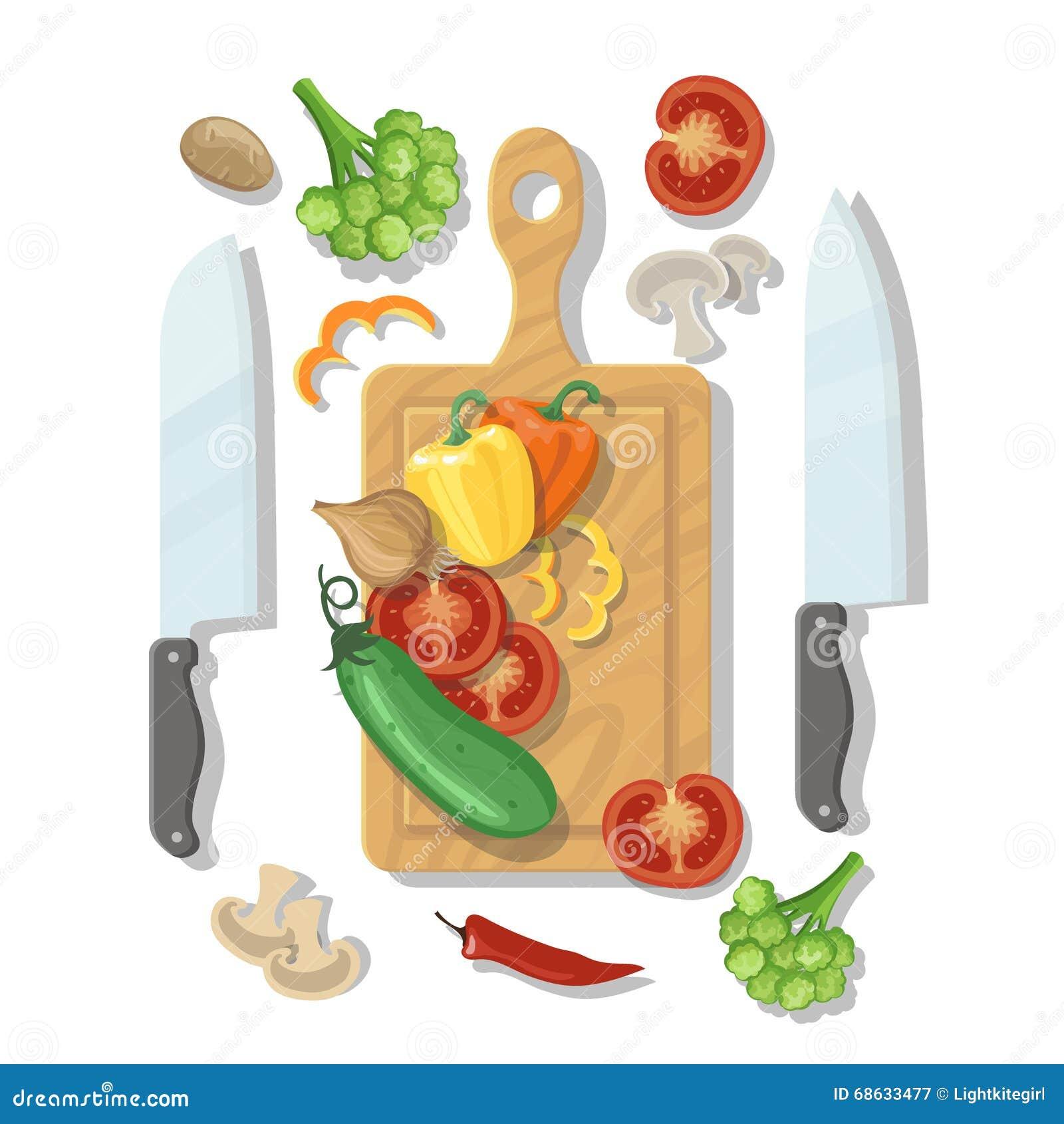 烹调卡片海报的切板和菜