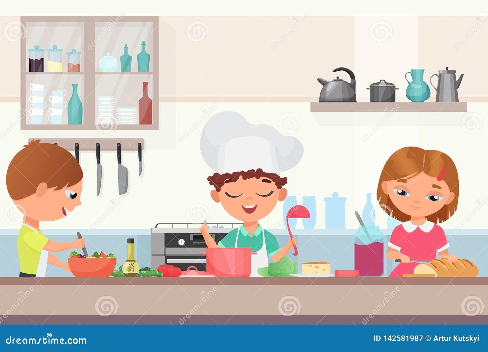 烹调好吃的愉快的矮小的逗人喜爱的儿童孩子在厨房里 厨师盖帽的厨师男孩举行一杓子烹调