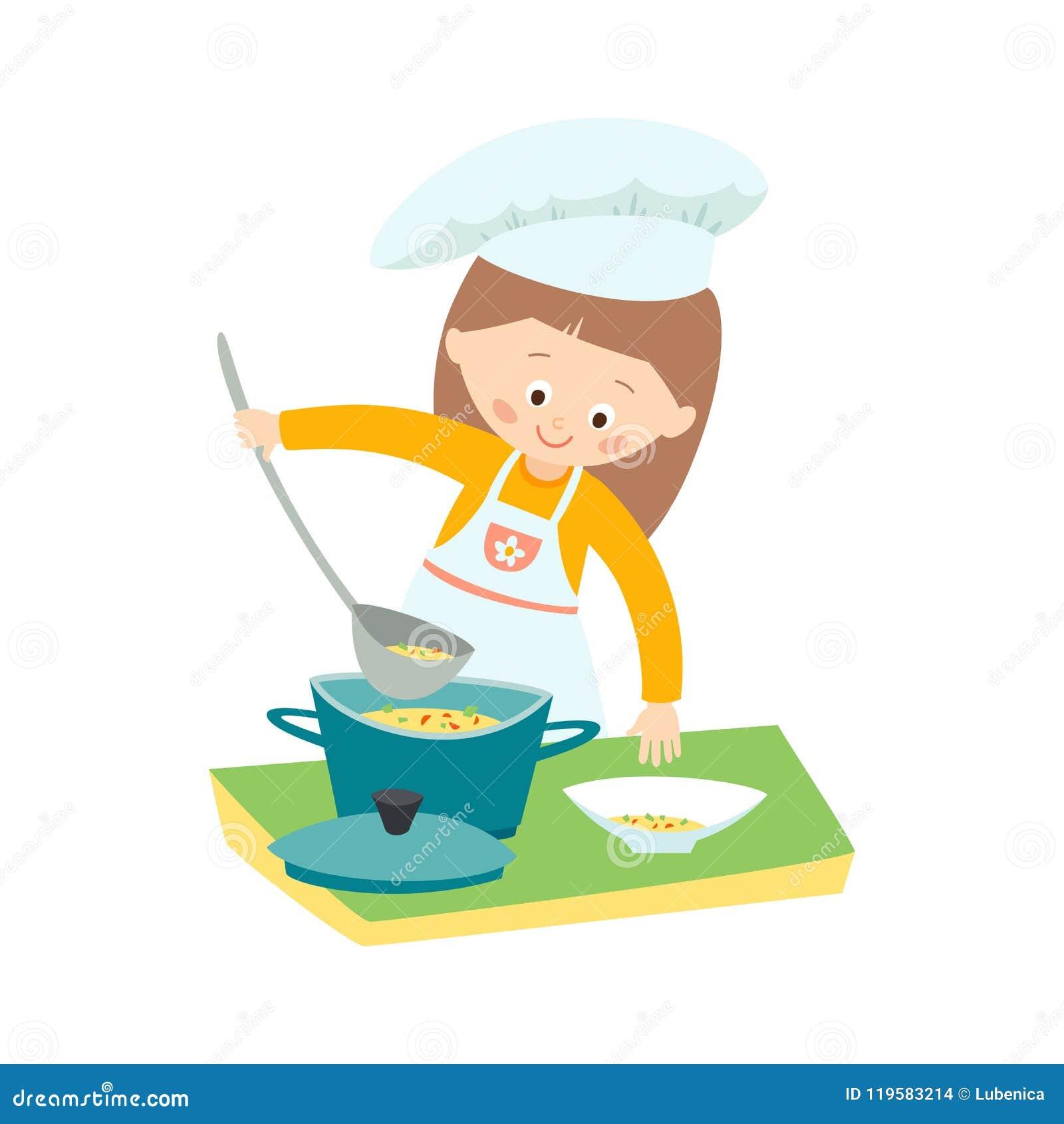 烹调汤的小女孩 主厨一点 导航在白色背景隔绝的手拉的eps 10剪贴美术例证