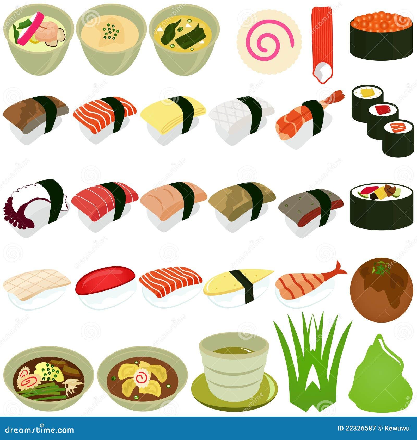 烹调食物图标日本人集合汤寿司向量