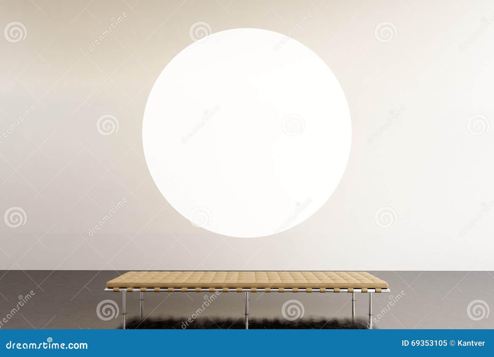 照片陈列空间现代画廊 垂悬当代艺术博物馆的圆的白色空的帆布 内部顶楼样式与