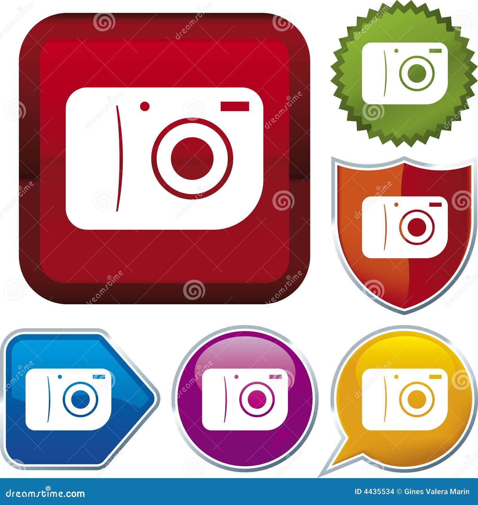 按在摄影向量的照相机不同的图标例证.