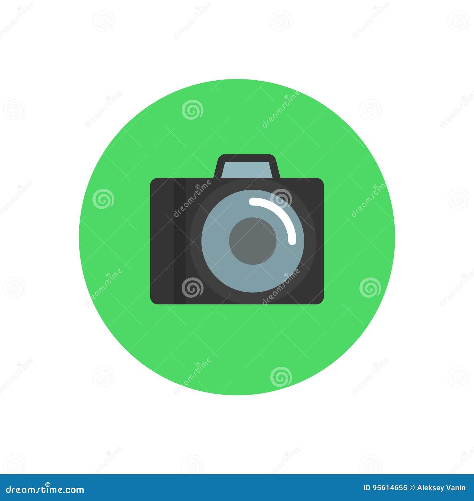 照相机平的象 圆的五颜六色的按钮,摄影圆传染媒介标志,商标例证