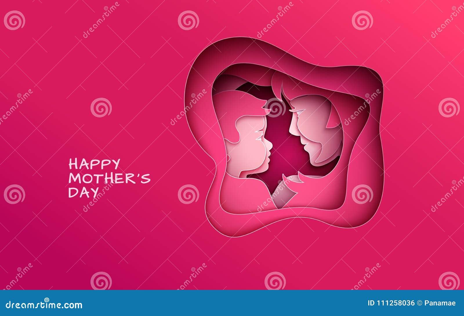 照顾` s天问候横幅,在红色背景的抽象cuted形状 妇女&婴孩剪影,祝贺文本 桃红色设计