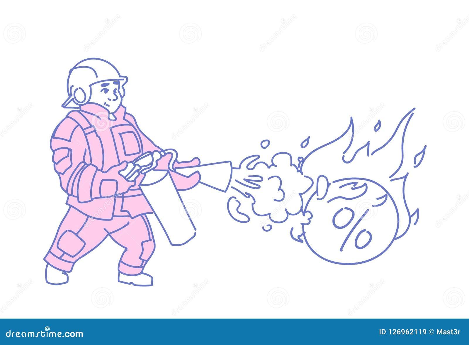 熄灭灼烧的百分之债务炸弹企业危机财政问题解答概念人消防队员的消防员