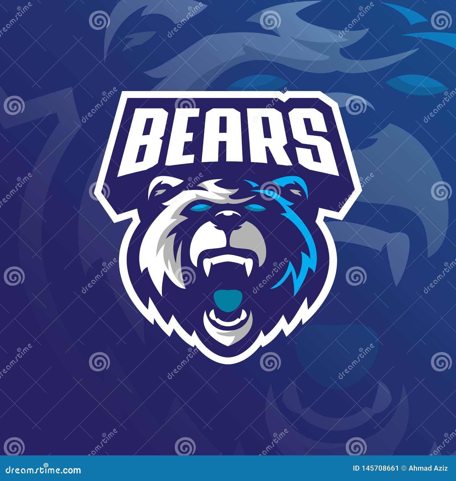 熊吉祥人商标与现代例证概念样式的设计传染媒介徽章、象征和T恤杉打印的 北美灰熊
