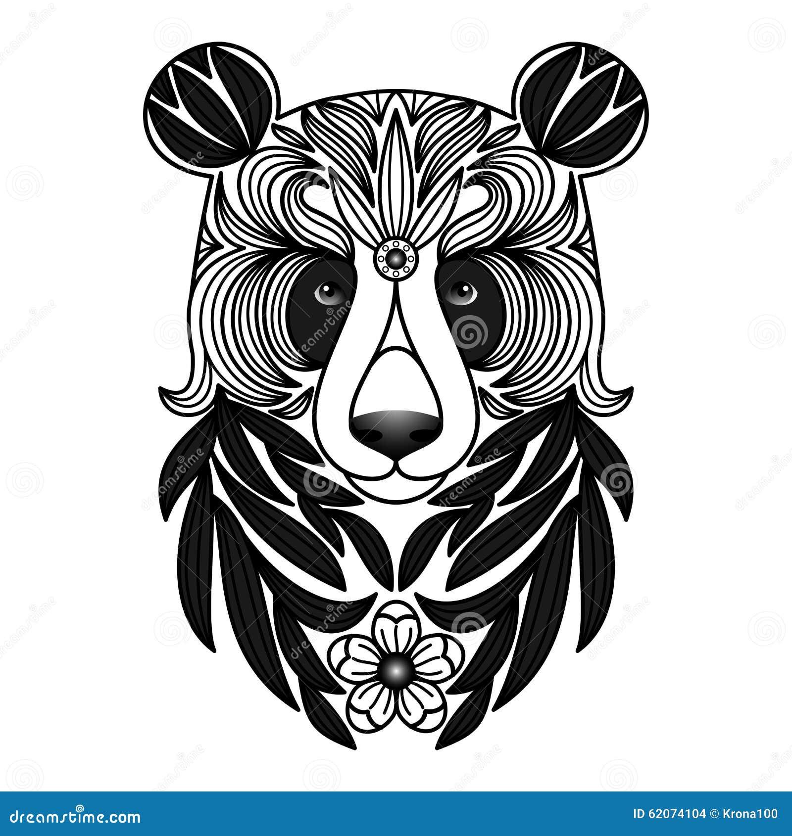纺织品印刷品,纹身花刺,网和图形设计的传染媒介例证黑白熊猫.