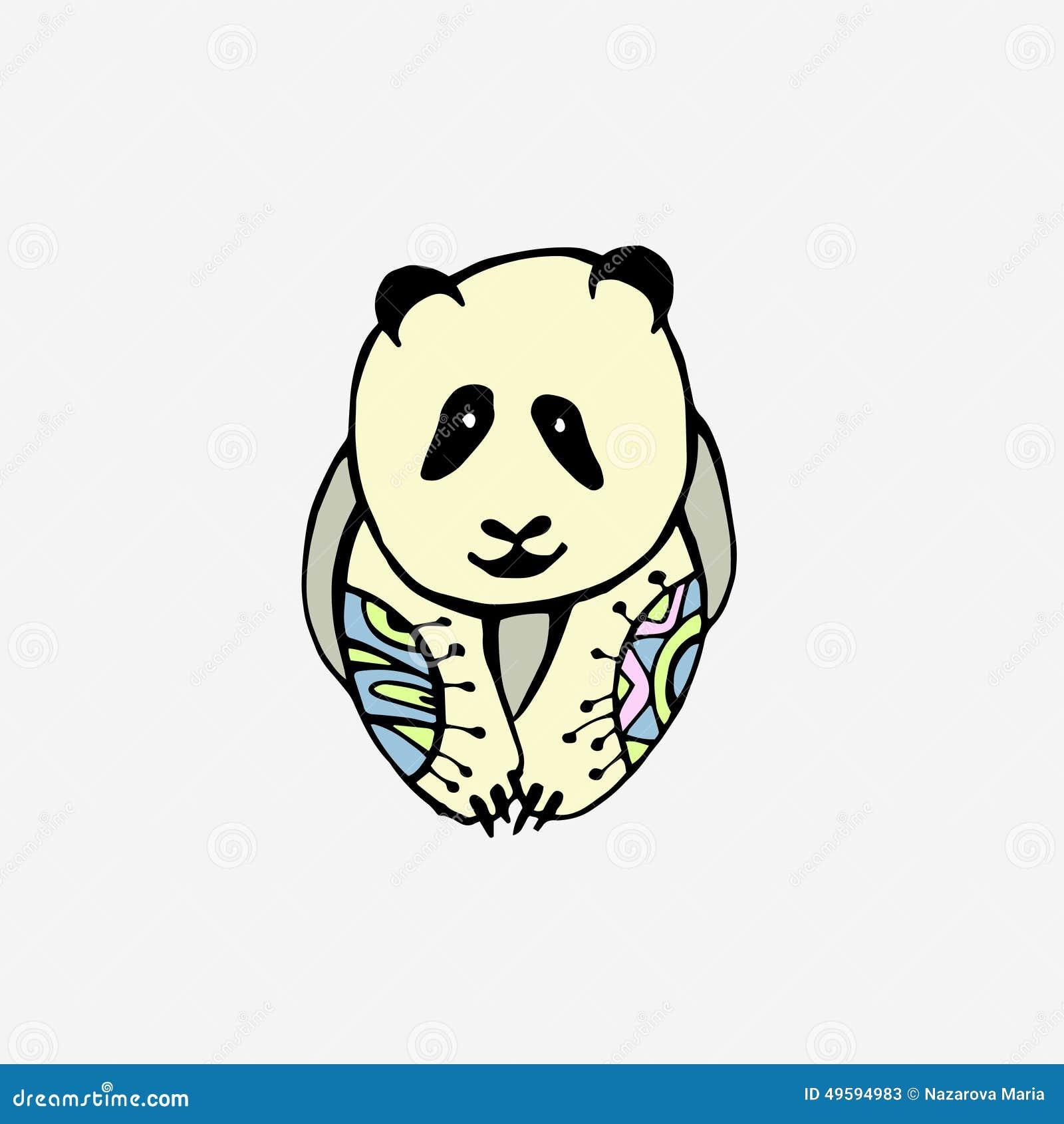 用手被画的熊猫装饰物.图片