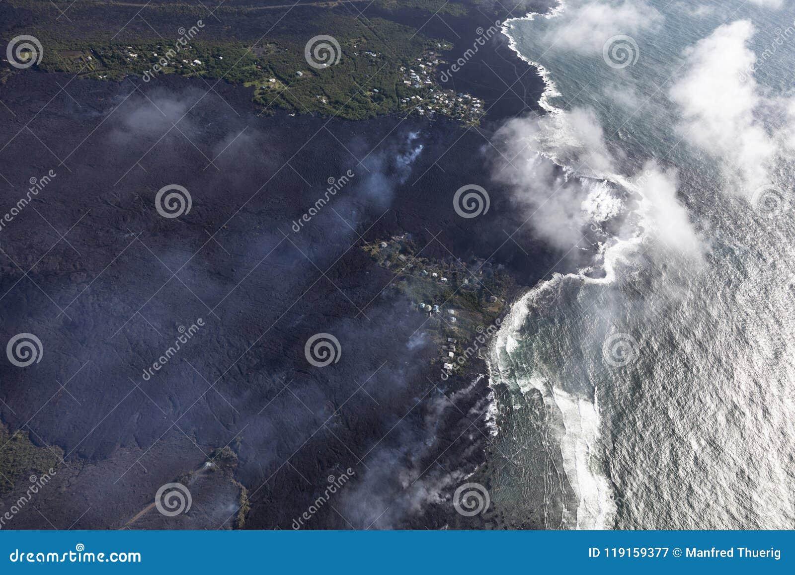 熔岩流鸟瞰图从Kilauea火山的爆发的