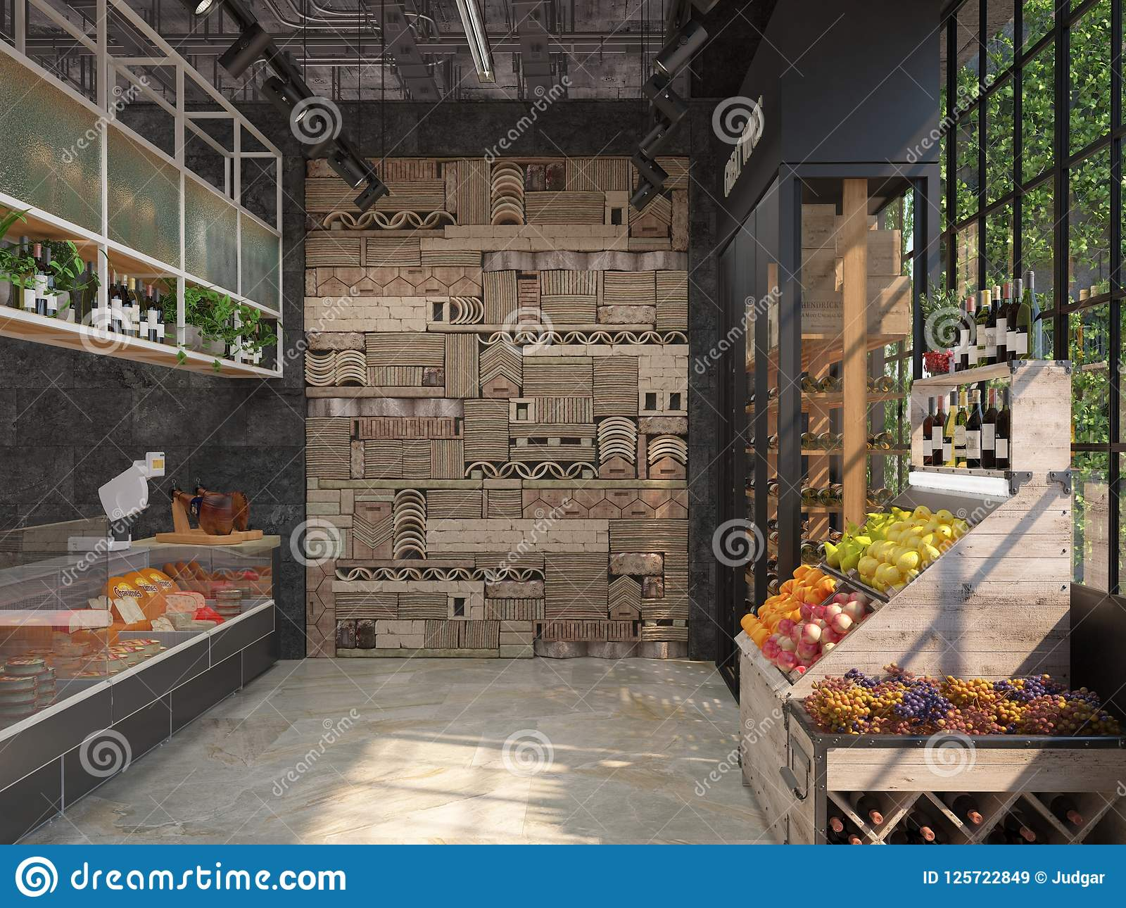 熟食杂货店的室内设计 顶楼样式 贸易的设备用乳酪,酒,果子 3d形象化