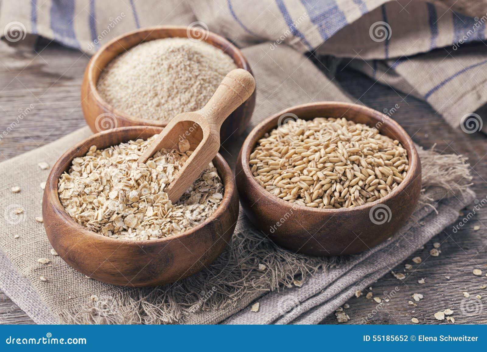 燕麦剥落、种子和麸皮