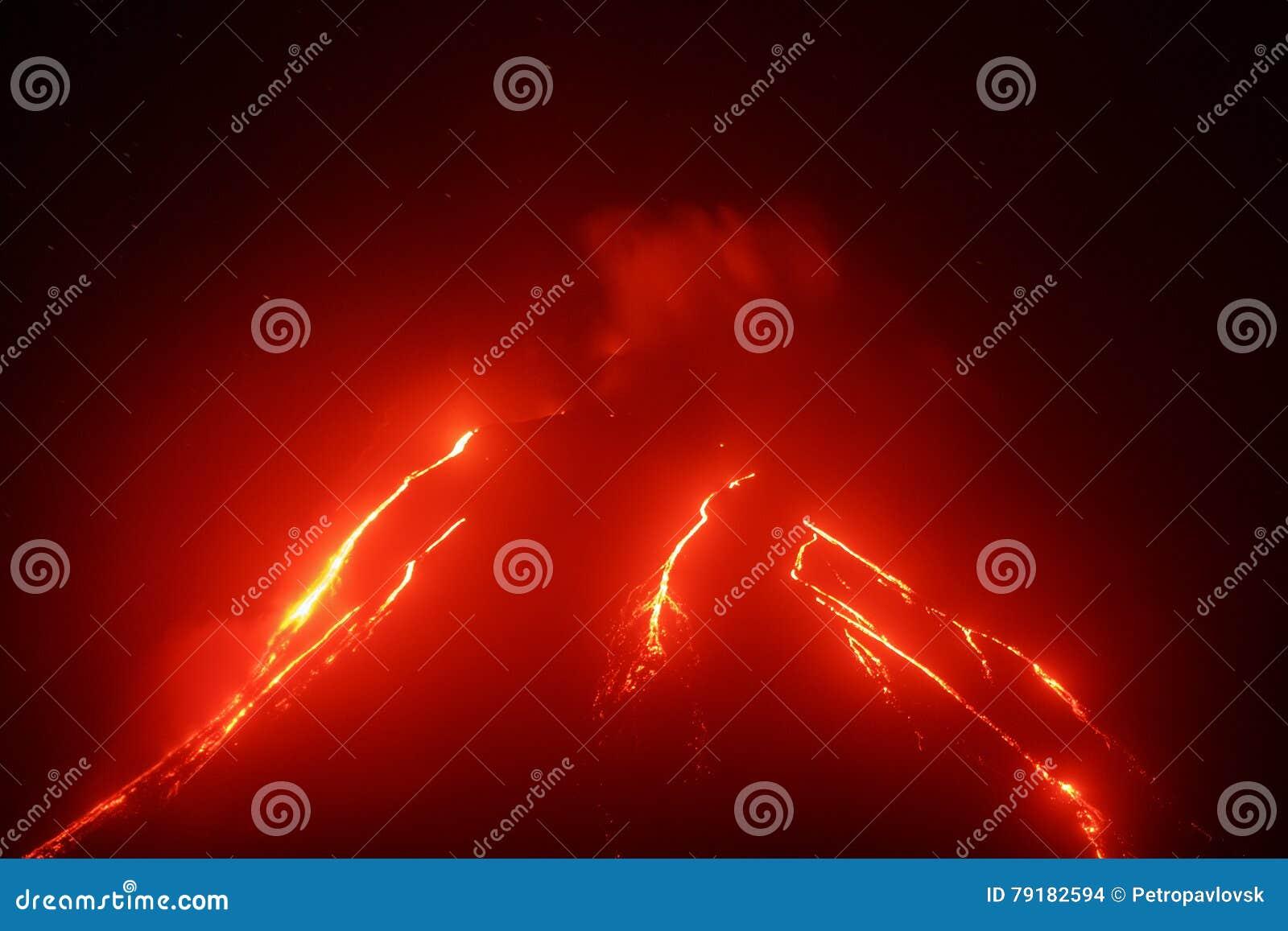 爆发在堪察加的Klyuchevskoy火山夜视图