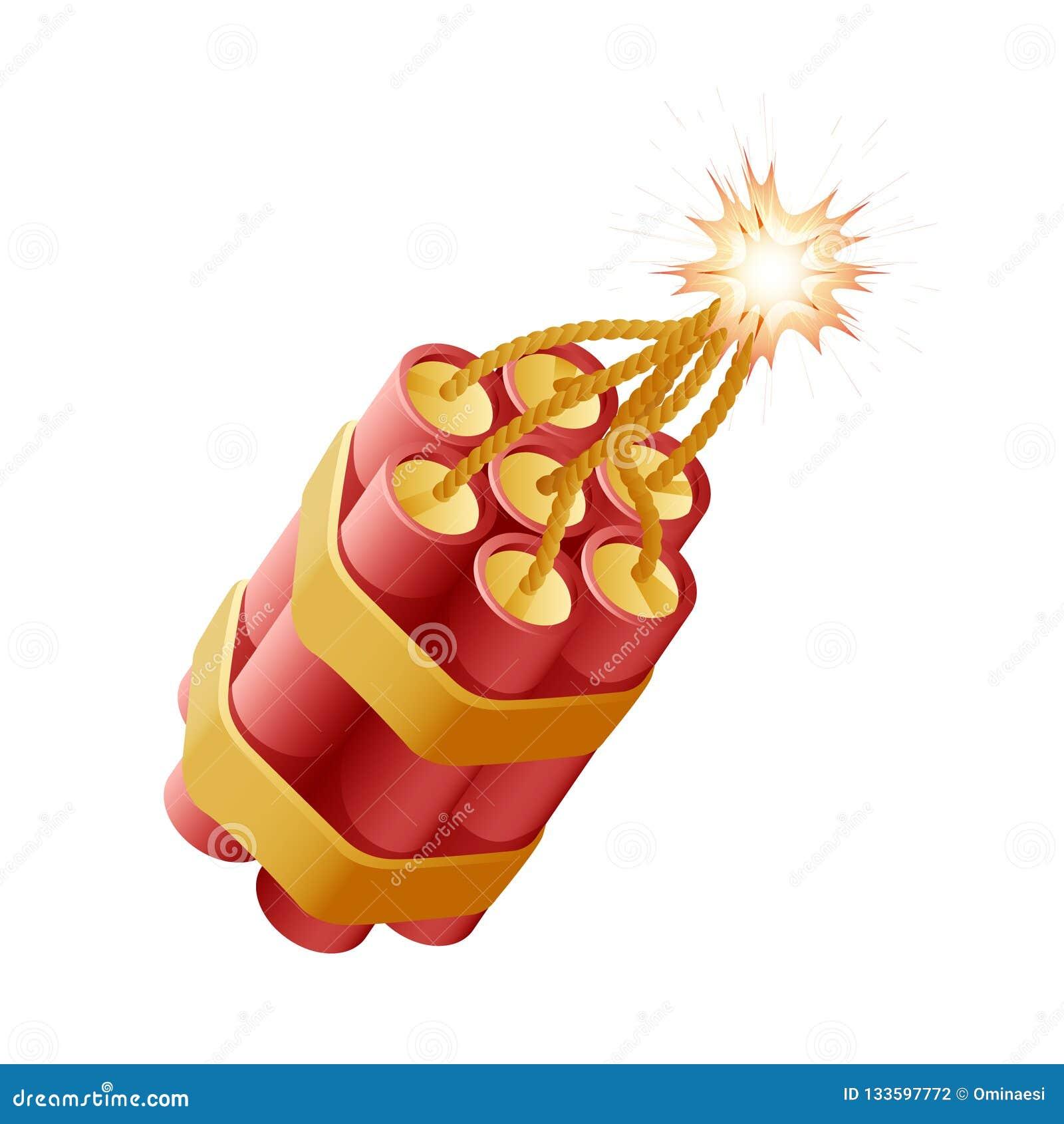 爆竹tnt灼烧的绳子炸药炸弹易爆的被隔绝的象传染媒介例证