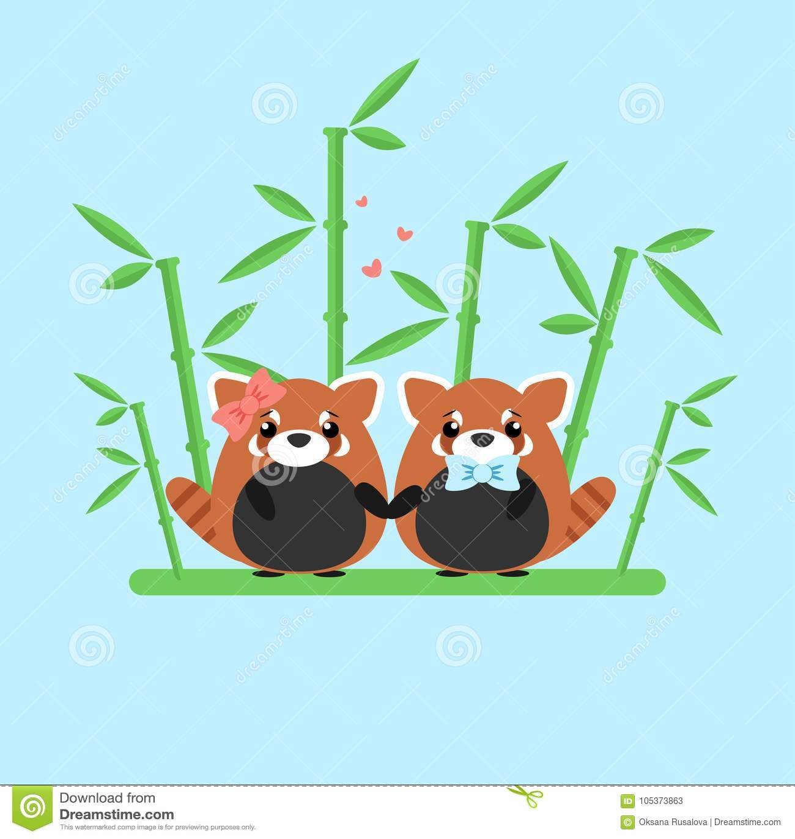 爱上在蓝色背景隔绝的华丽竹子导航红熊猫夫妇的例证