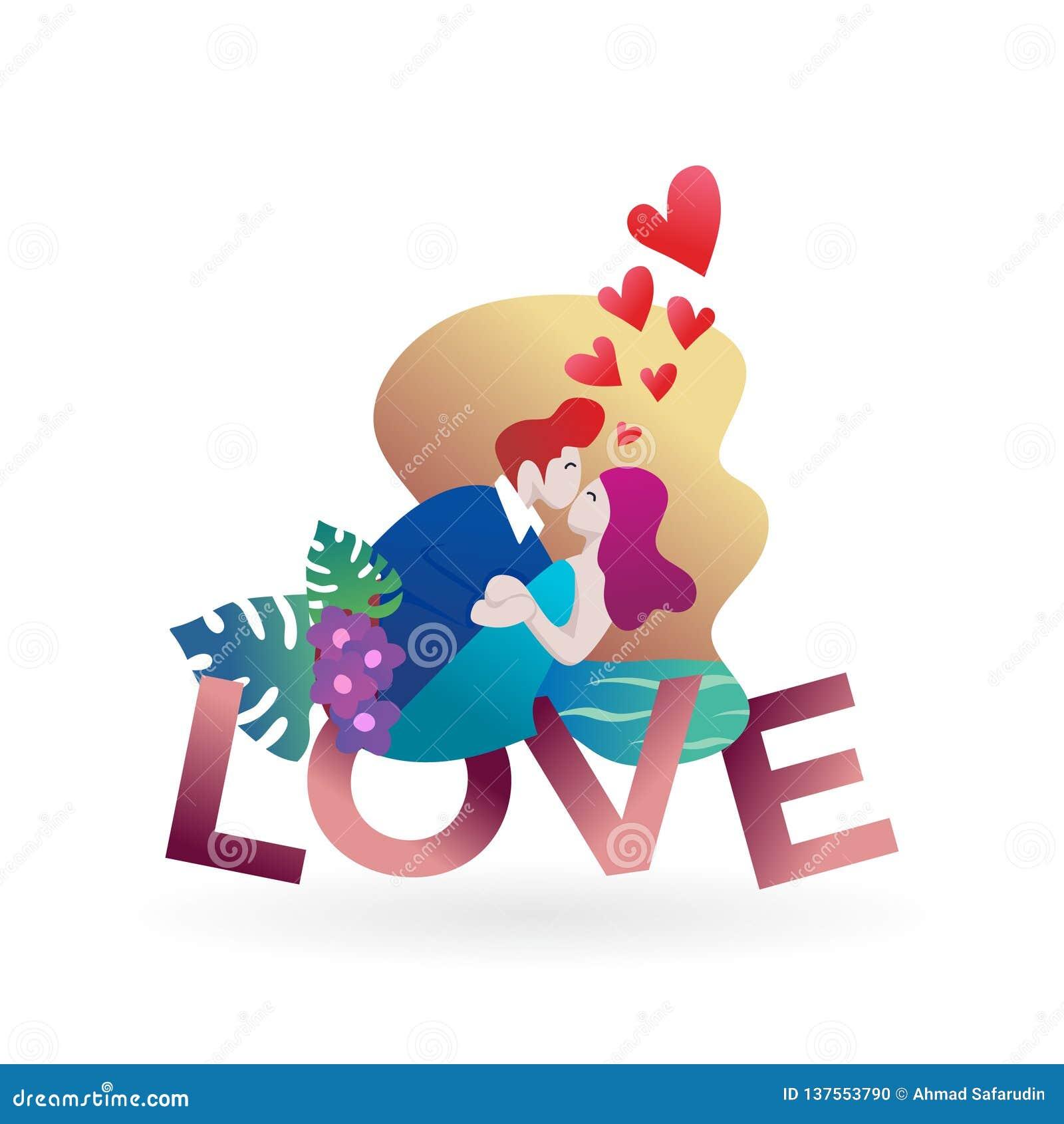 爱上文本结合 恋人传染媒介例证横幅海报元素设计浪漫现代卡通人物