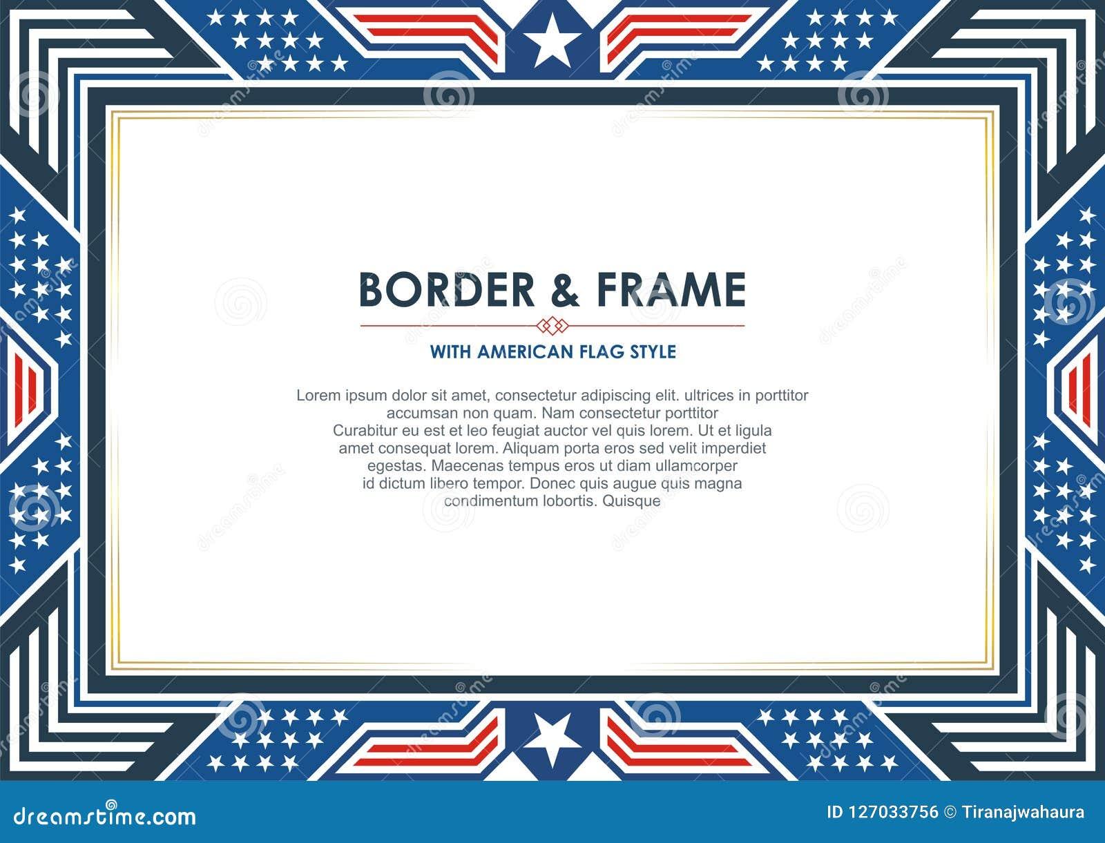 爱国框架或边界,与美国国旗样式和颜色设计