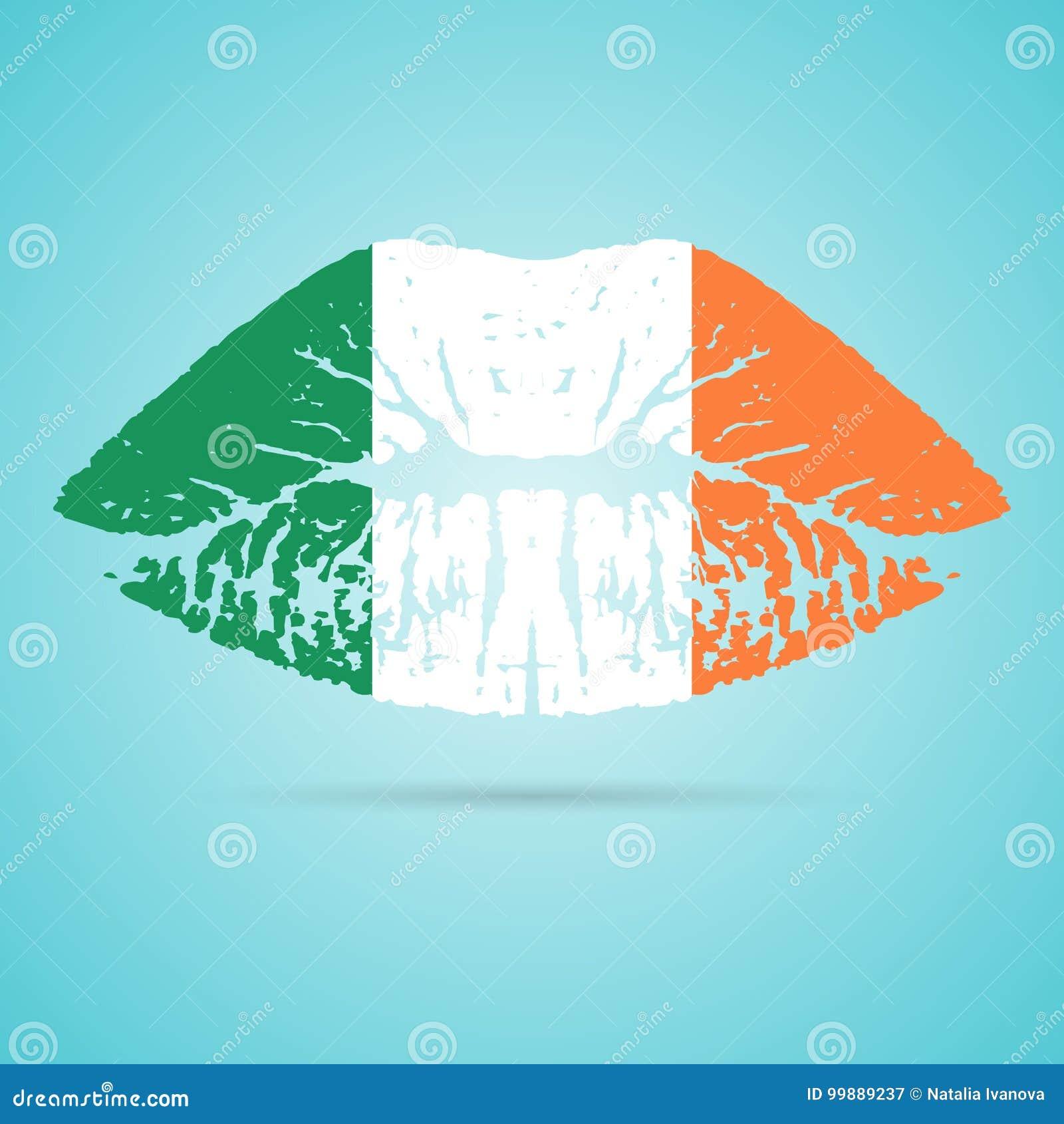 爱尔兰在白色背景隔绝的嘴唇的旗子唇膏 也corel凹道例证向量