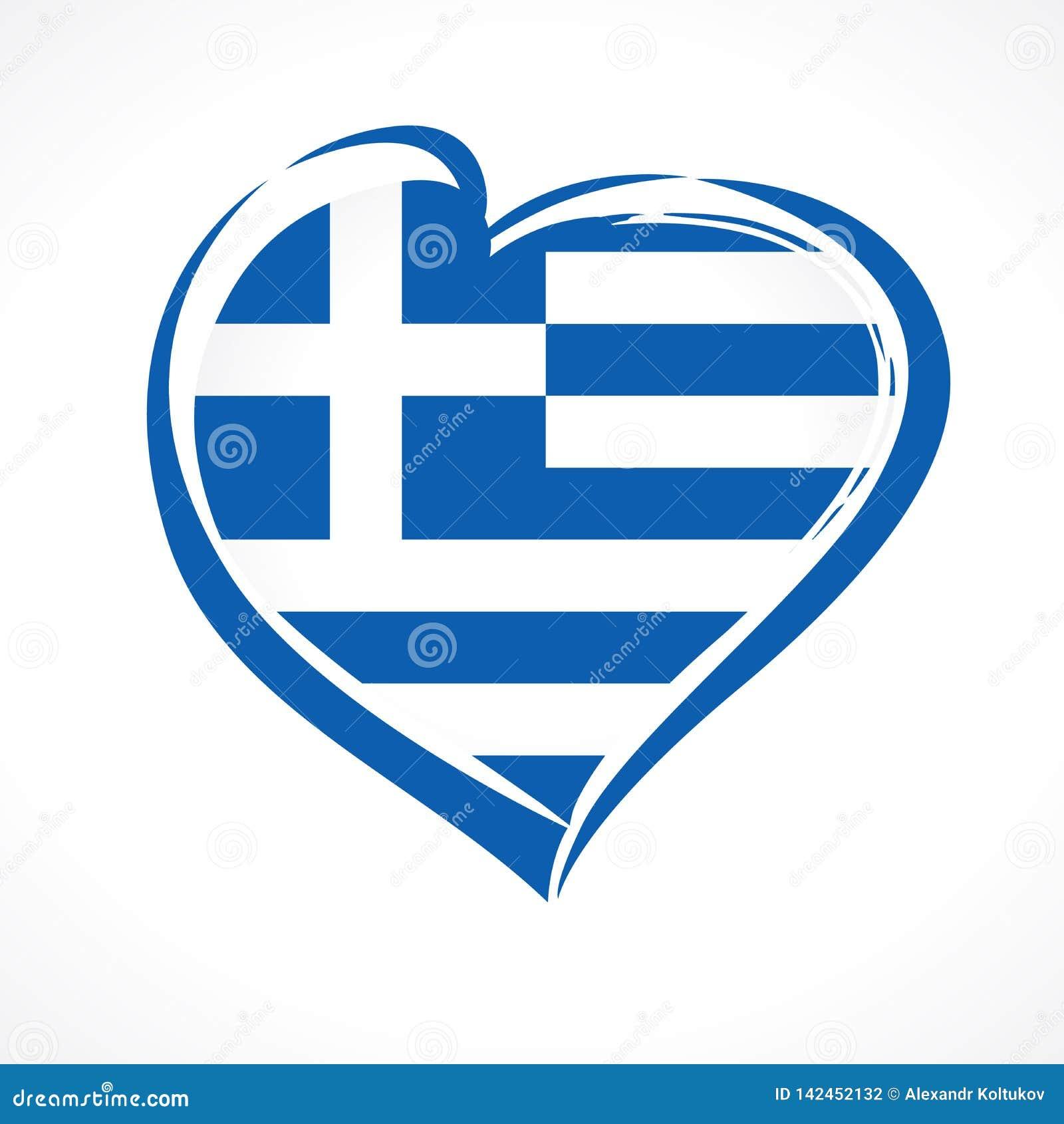 爱希腊,心脏象征国旗上色了
