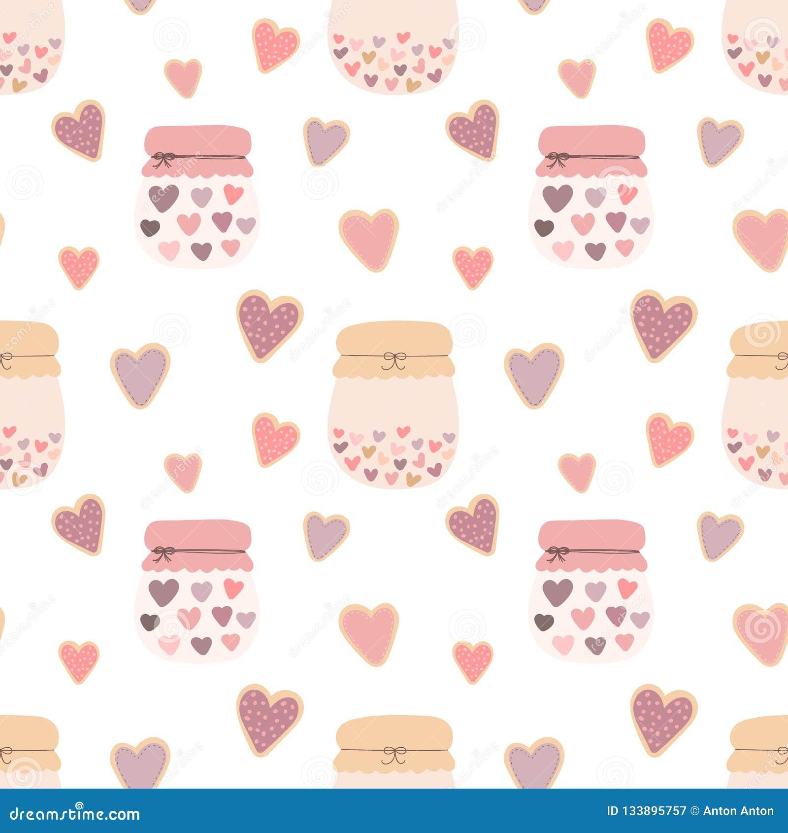 爱形状心脏曲奇饼,瓶子的无缝的样式在轻的背景的果酱 传染媒介图象为情人节,恋人,印刷品