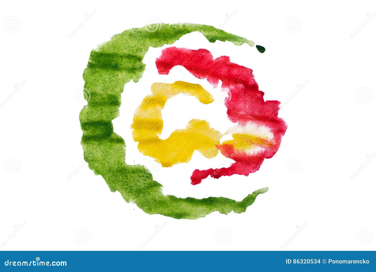 爱德绿色和黄色水彩摘要