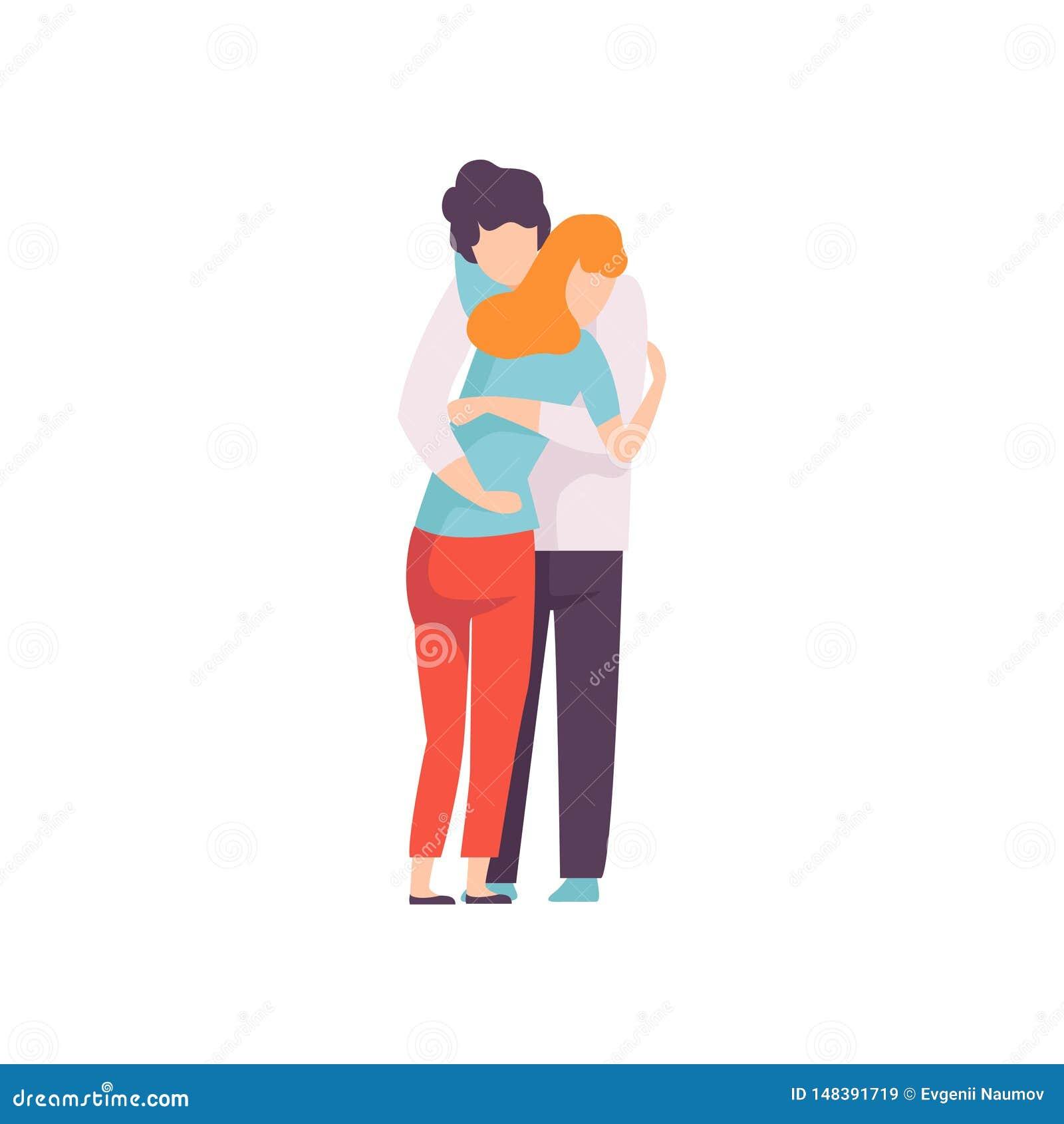 爱恋拥抱的年轻人和的妇女,在爱传染媒介例证的愉快的浪漫夫妇
