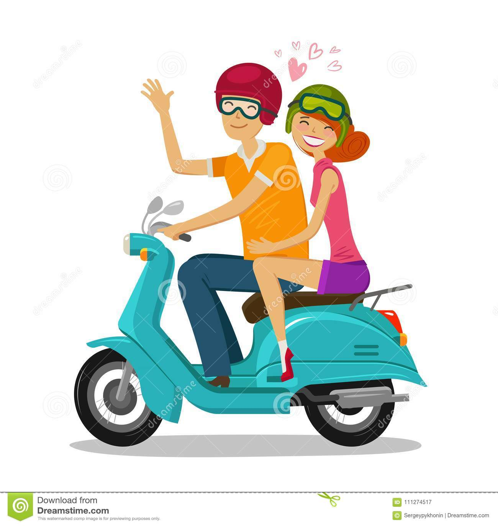 爱恋的夫妇骑马滑行车 旅途,旅行概念 外籍动画片猫逃脱例证屋顶向量