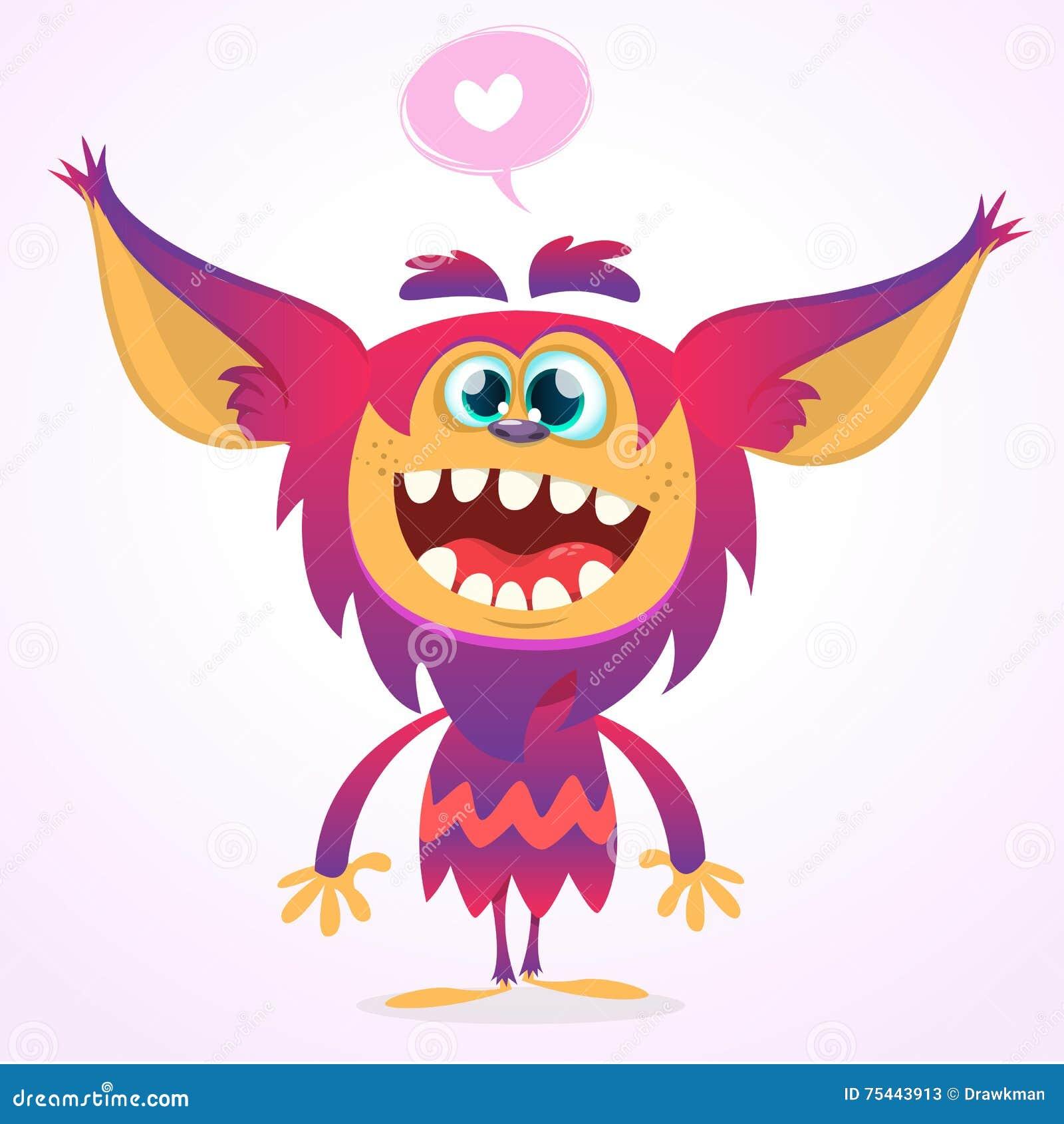 爱的愉快的动画片gremlin妖怪 万圣夜传染媒介恶鬼或拖钓与桃红色毛皮和大耳朵 查出