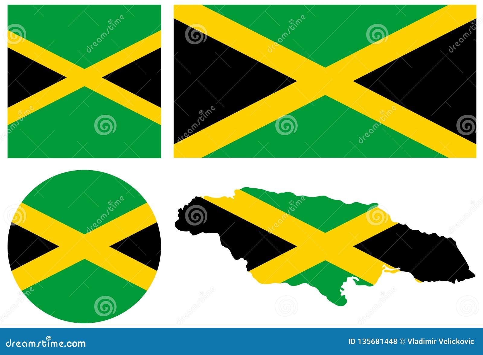 牙买加旗子和地图-在加勒比海位于的岛屿国家