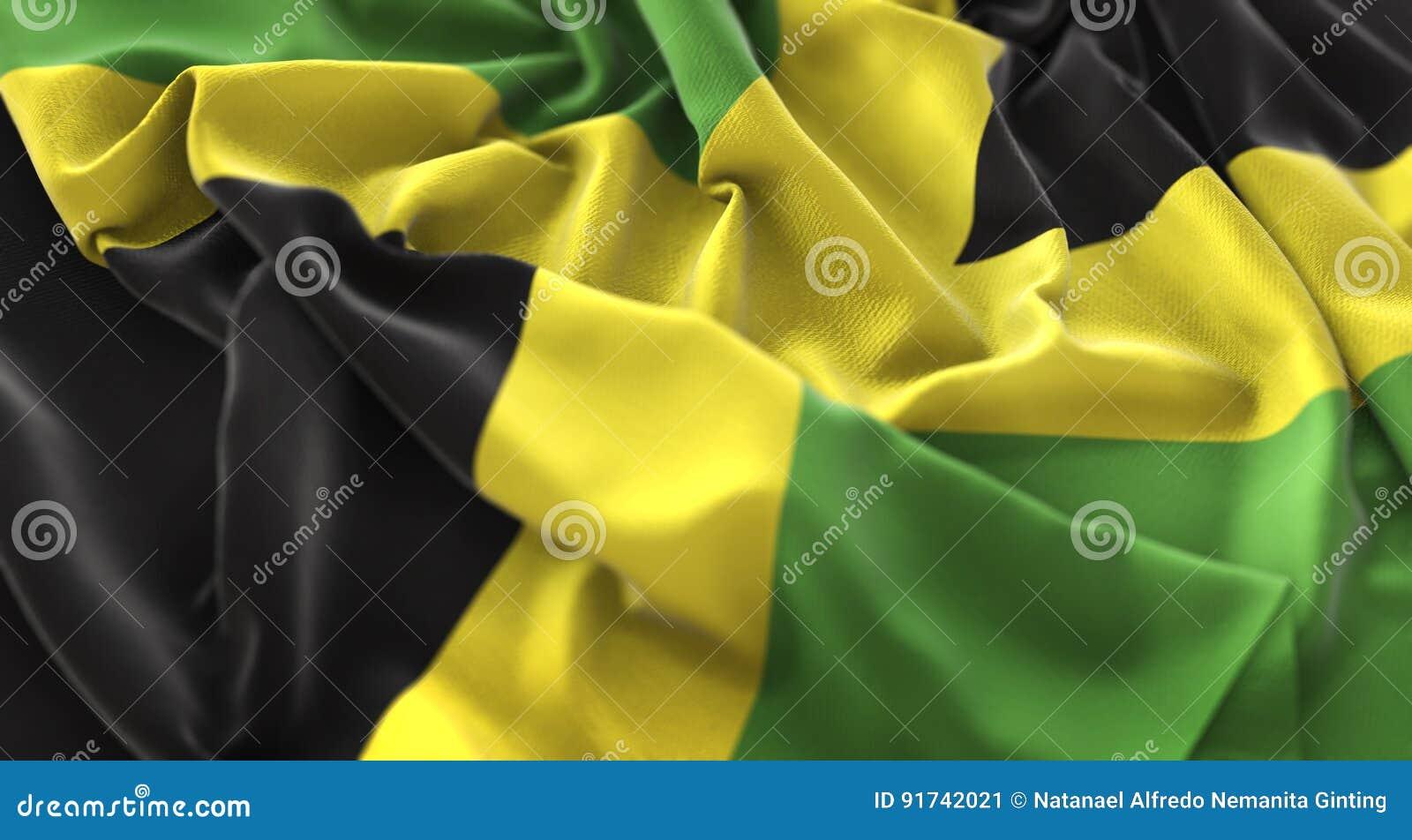 牙买加旗子被翻动的美妙地挥动的宏观特写镜头射击