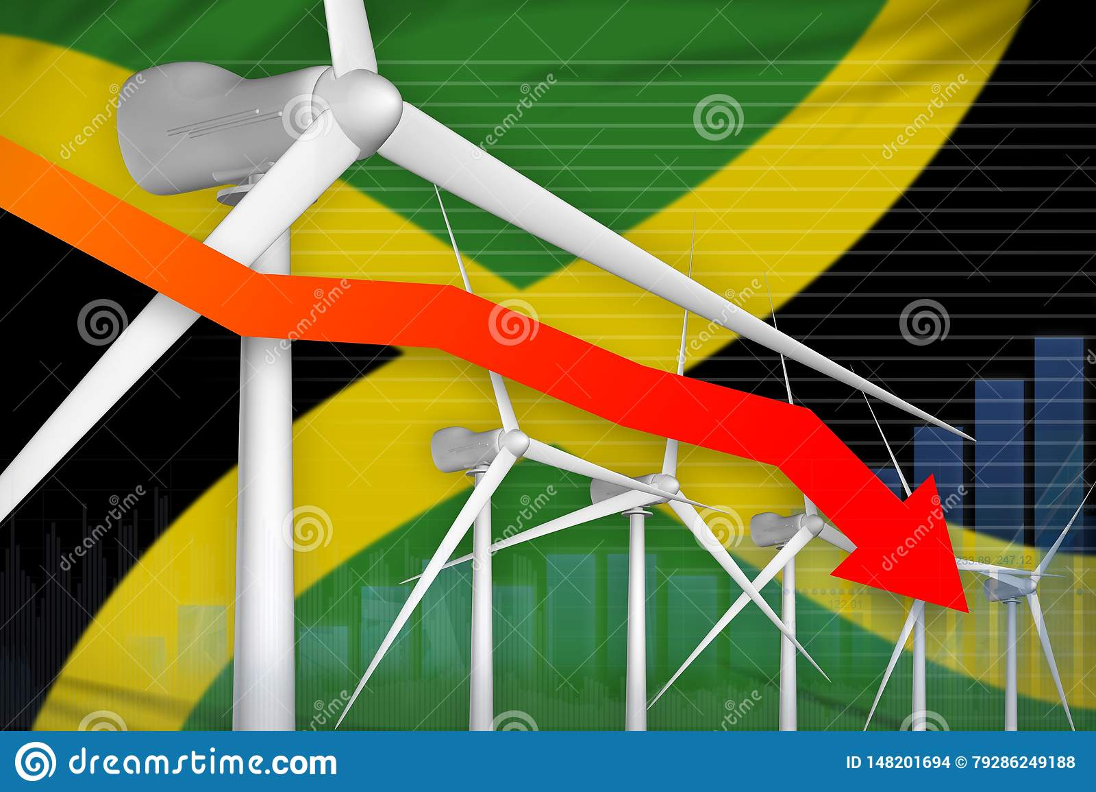 牙买加降低图,在-绿色自然能工业例证下的箭头的风能力量 3d??