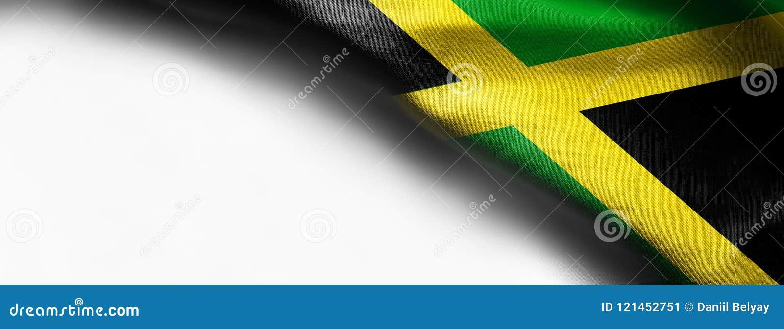 牙买加,白色背景的中美洲的挥动的旗子