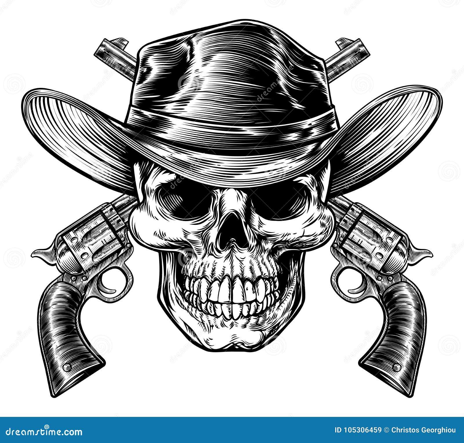 牛仔头骨和手枪