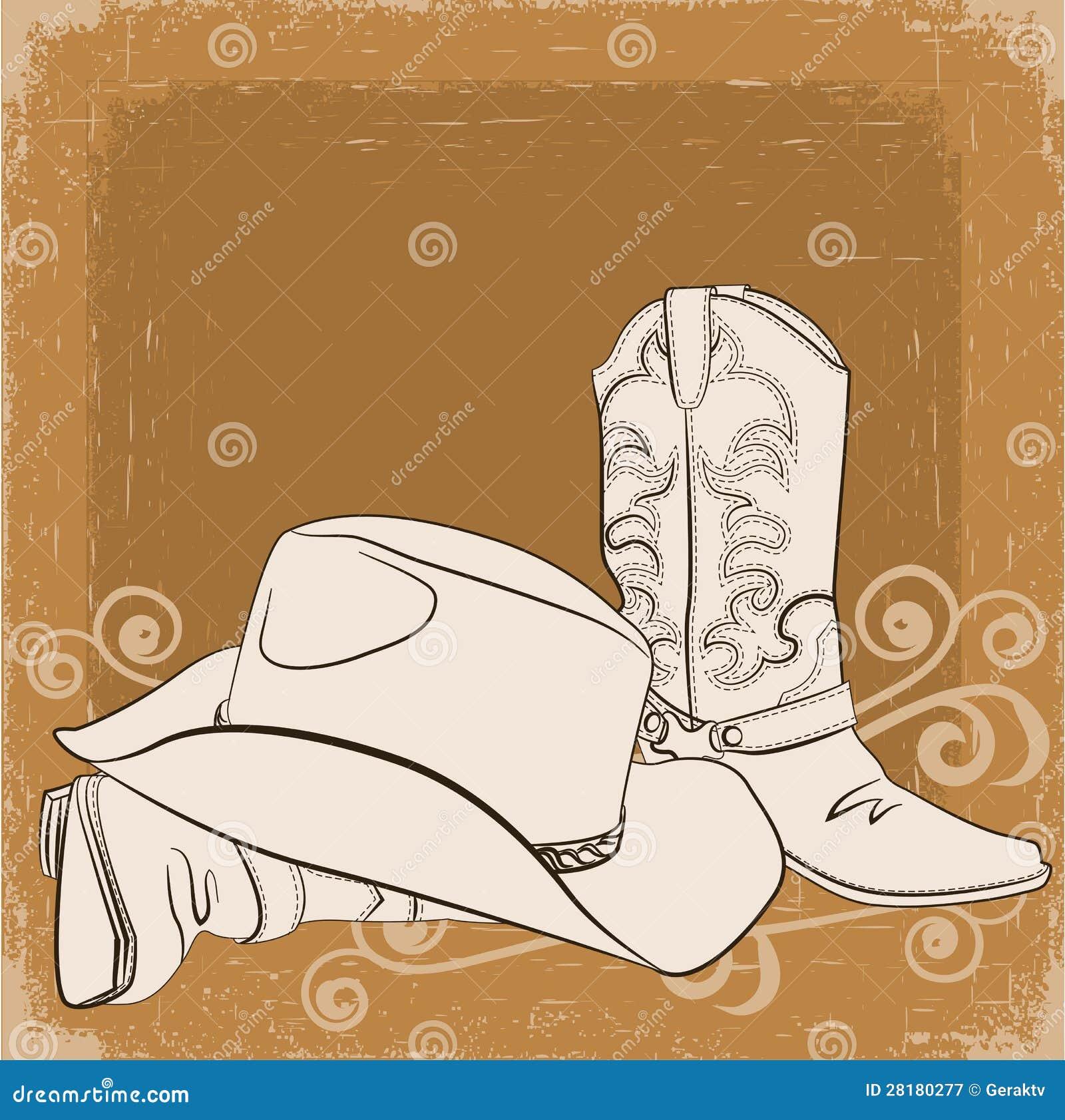 牛仔靴和帽子。向量难看的东西背景