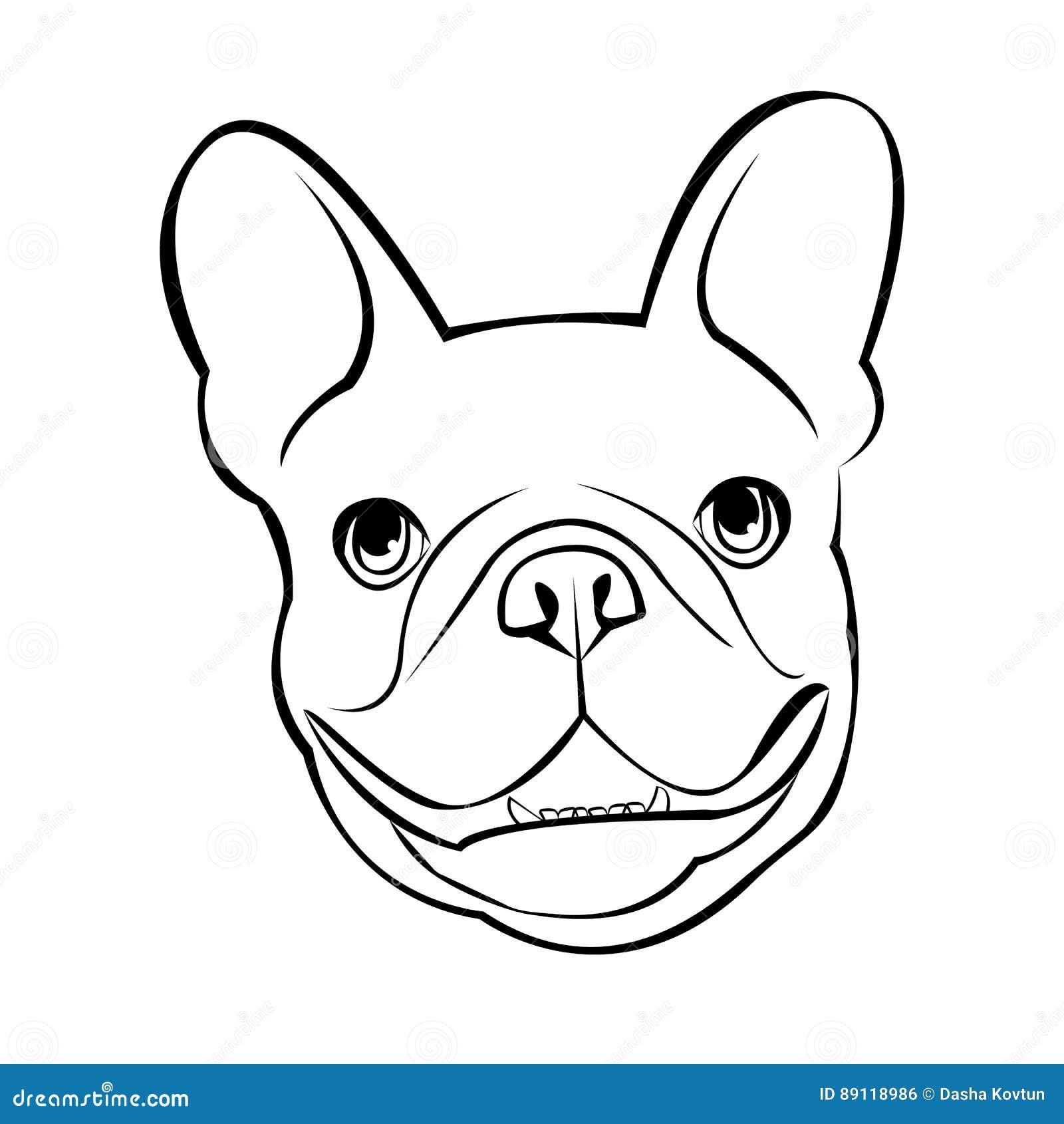 牛头犬狗动物法国传染媒介例证宠物品种逗人喜爱的图画