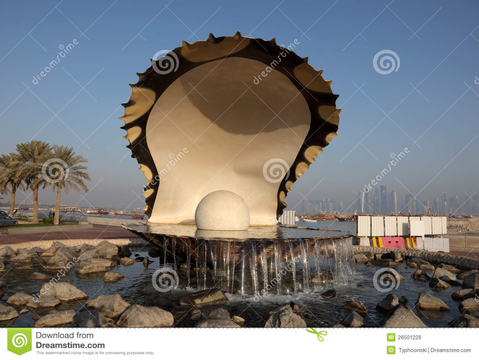 牡蛎珍珠喷泉在多哈
