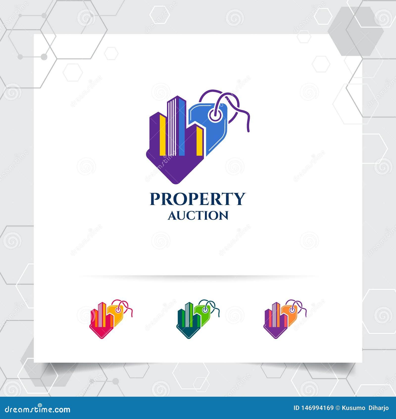 物产出售商标设计价牌象和不动产例证的传染媒介概念建筑、住所和物产的