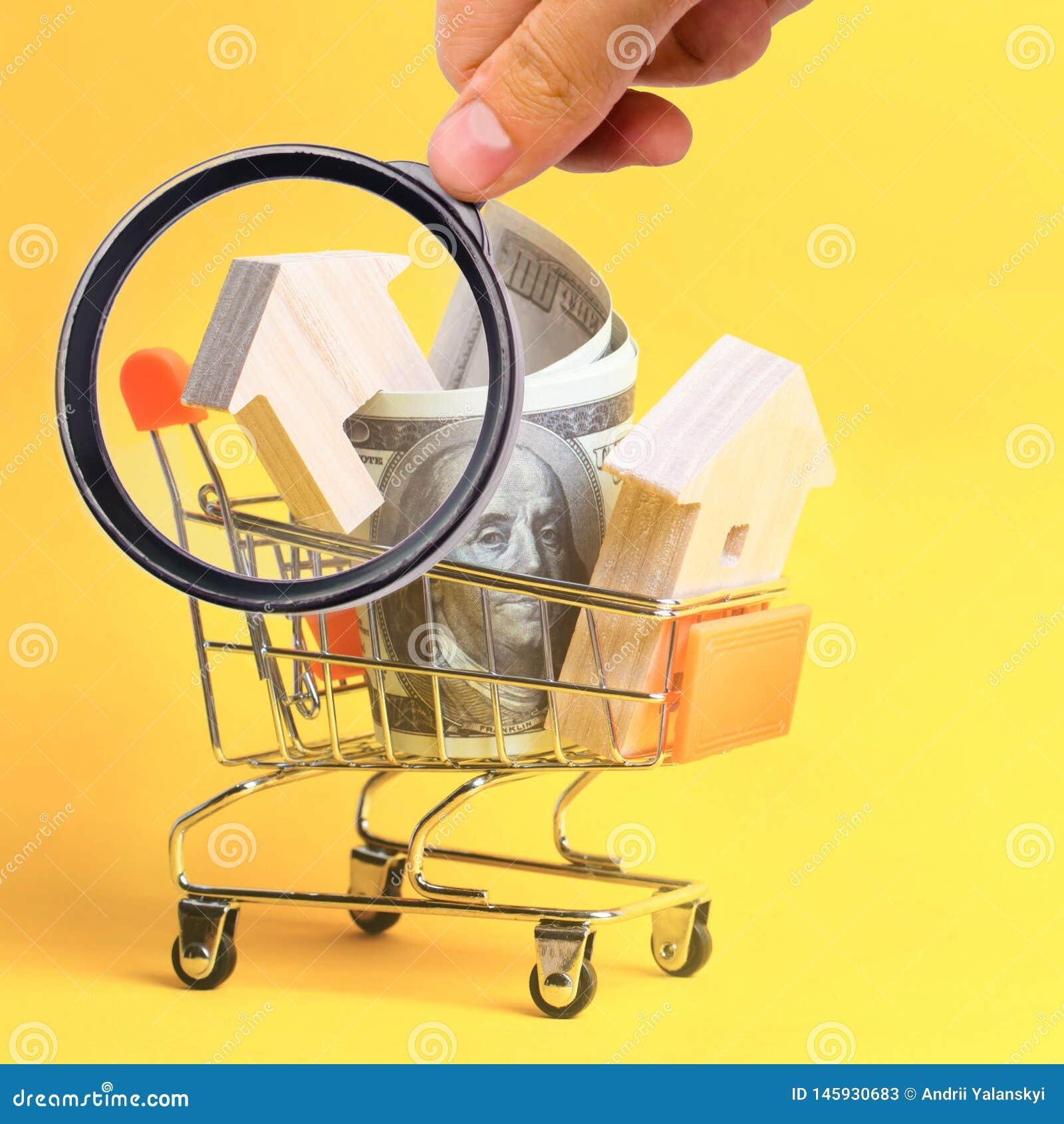 物产投资和房子抵押财政概念 买,租赁和卖公寓 r 美元和a