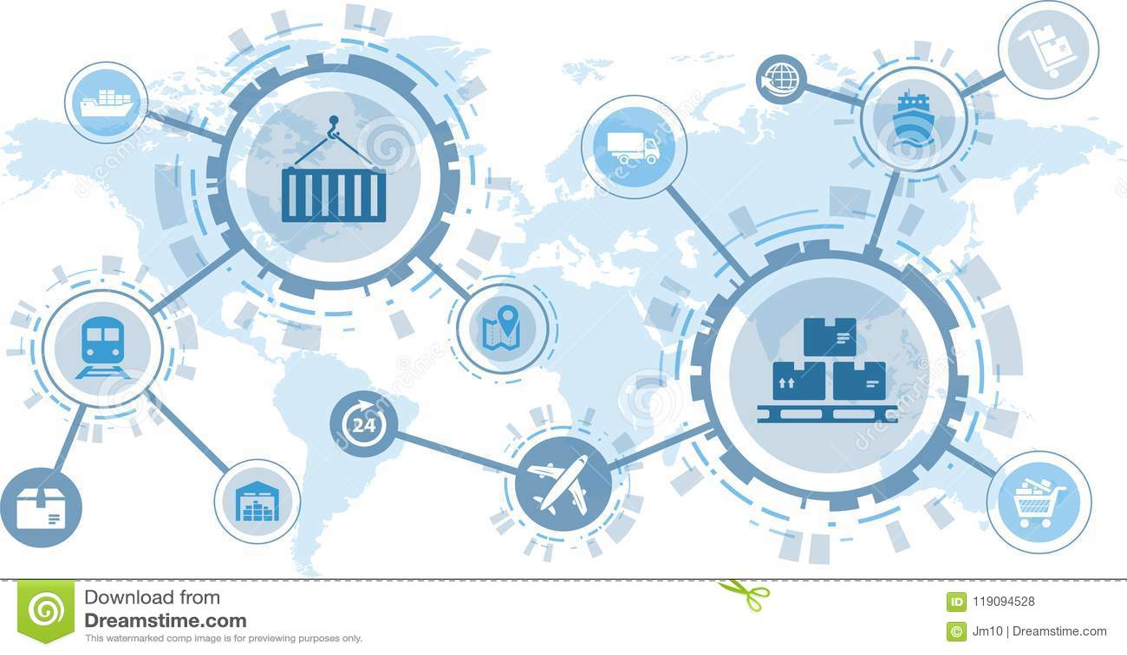 物品现代后勤学/供应链管理/交付-例证