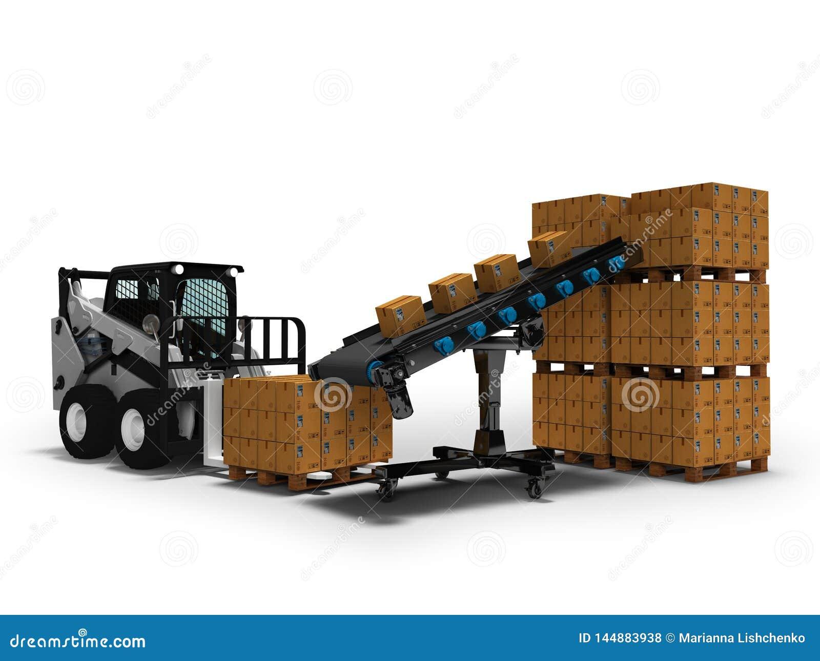 物品的安置的概念在纸箱的有从传送带3d的微型铲车的回报在与阴影的白色背景