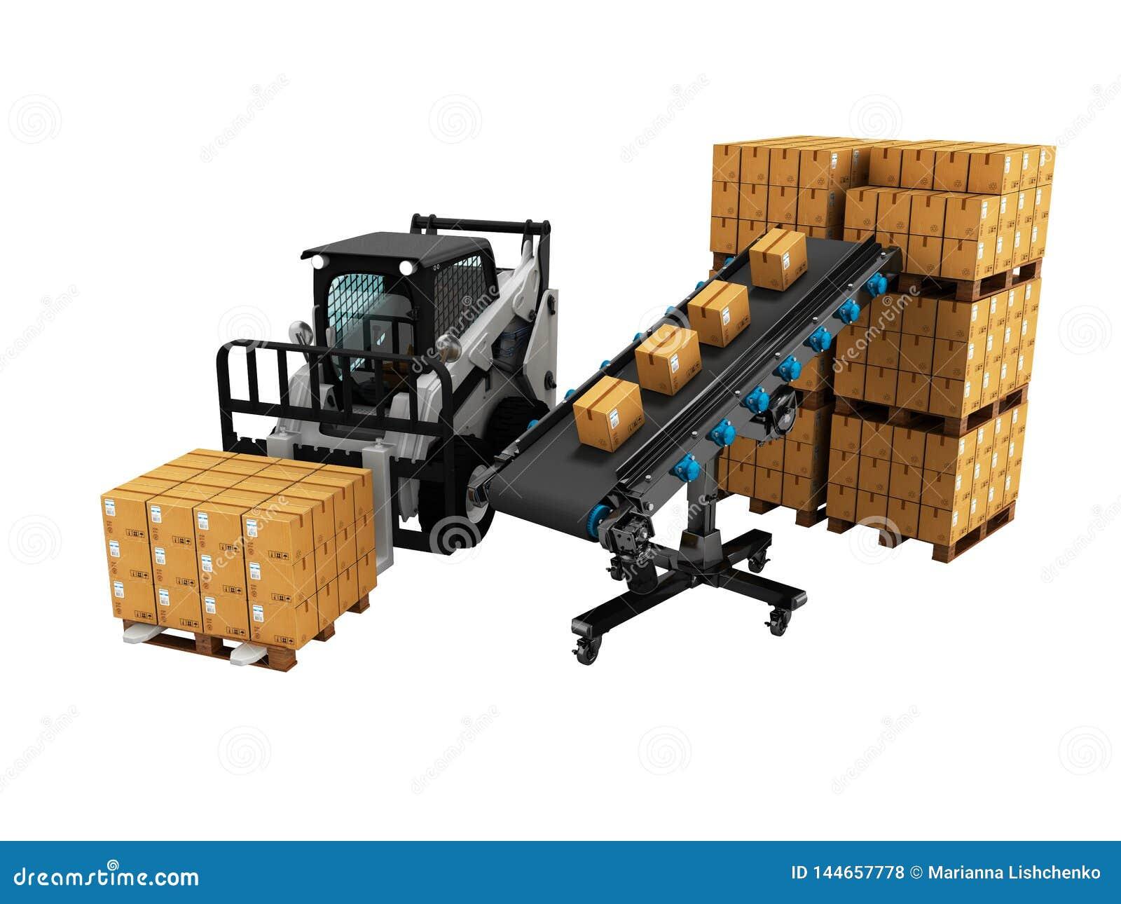 物品的安置的概念在纸箱的有从传送带3d的铲车的回报在白色背景阴影