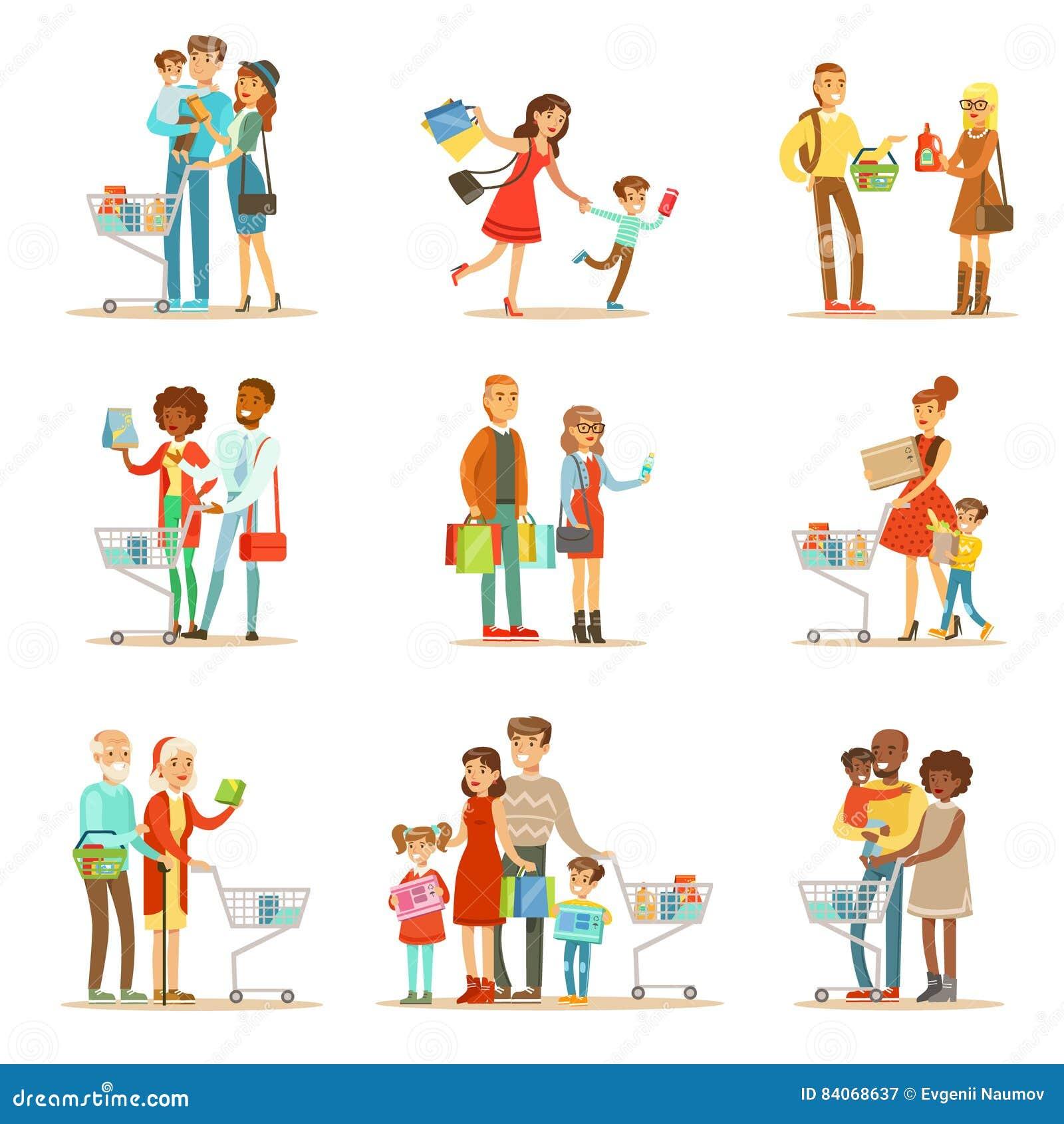 购物在百货大楼和商城集合的家庭