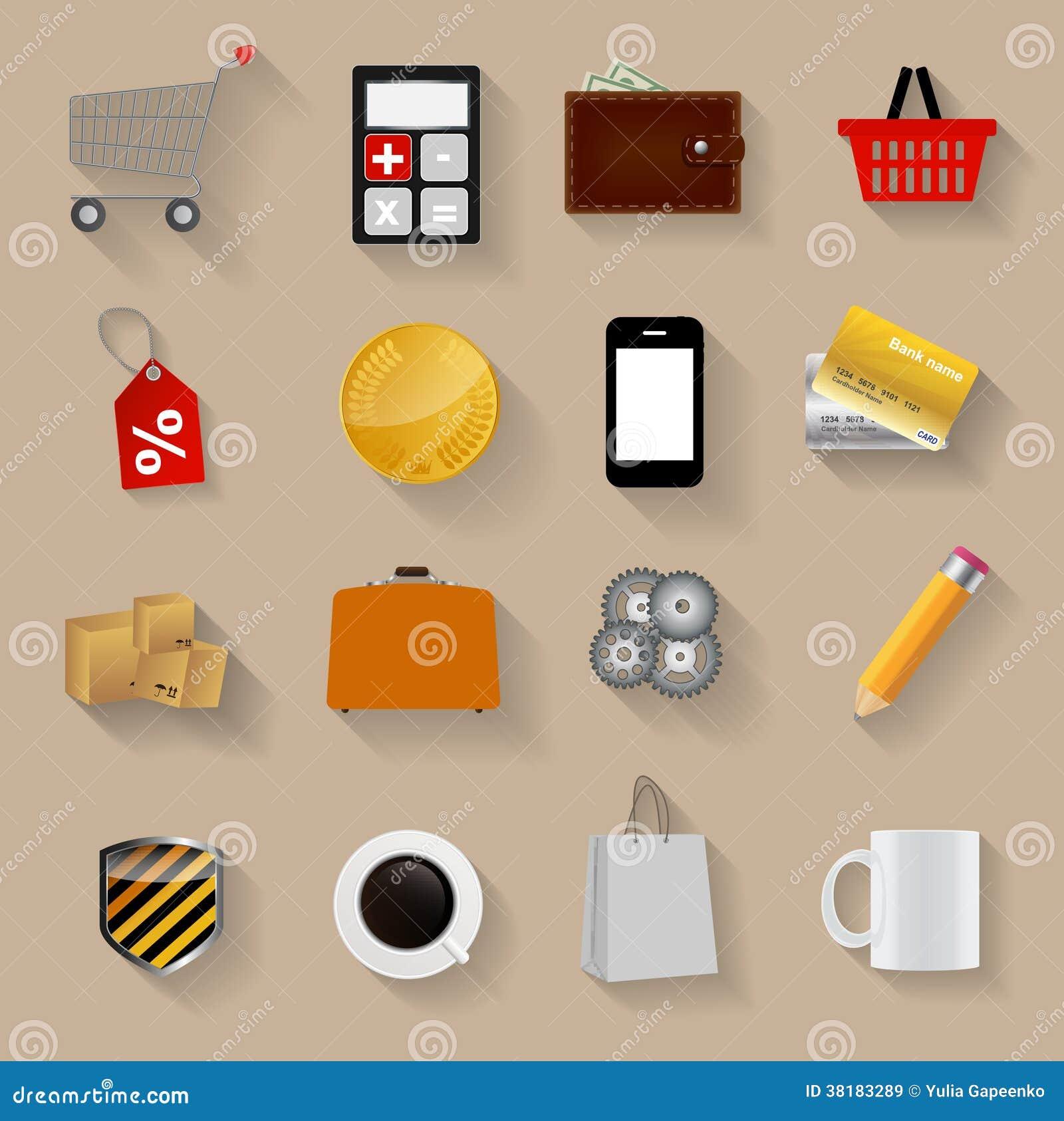 购物的平的象被设置的传染媒介例证