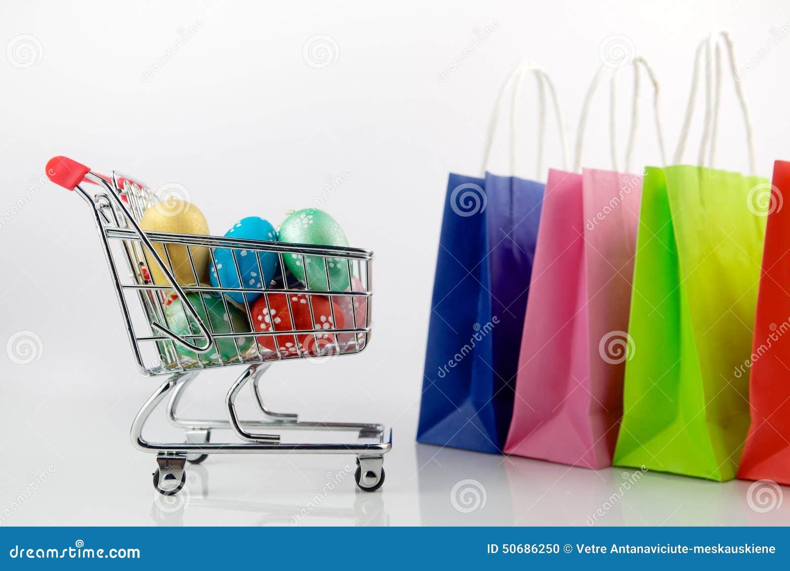 Download 购物车用复活节彩蛋 库存照片. 图片 包括有 背包, 采购, 空白, 销售额, 金子, 货币, 复活节, 五颜六色 - 50686250