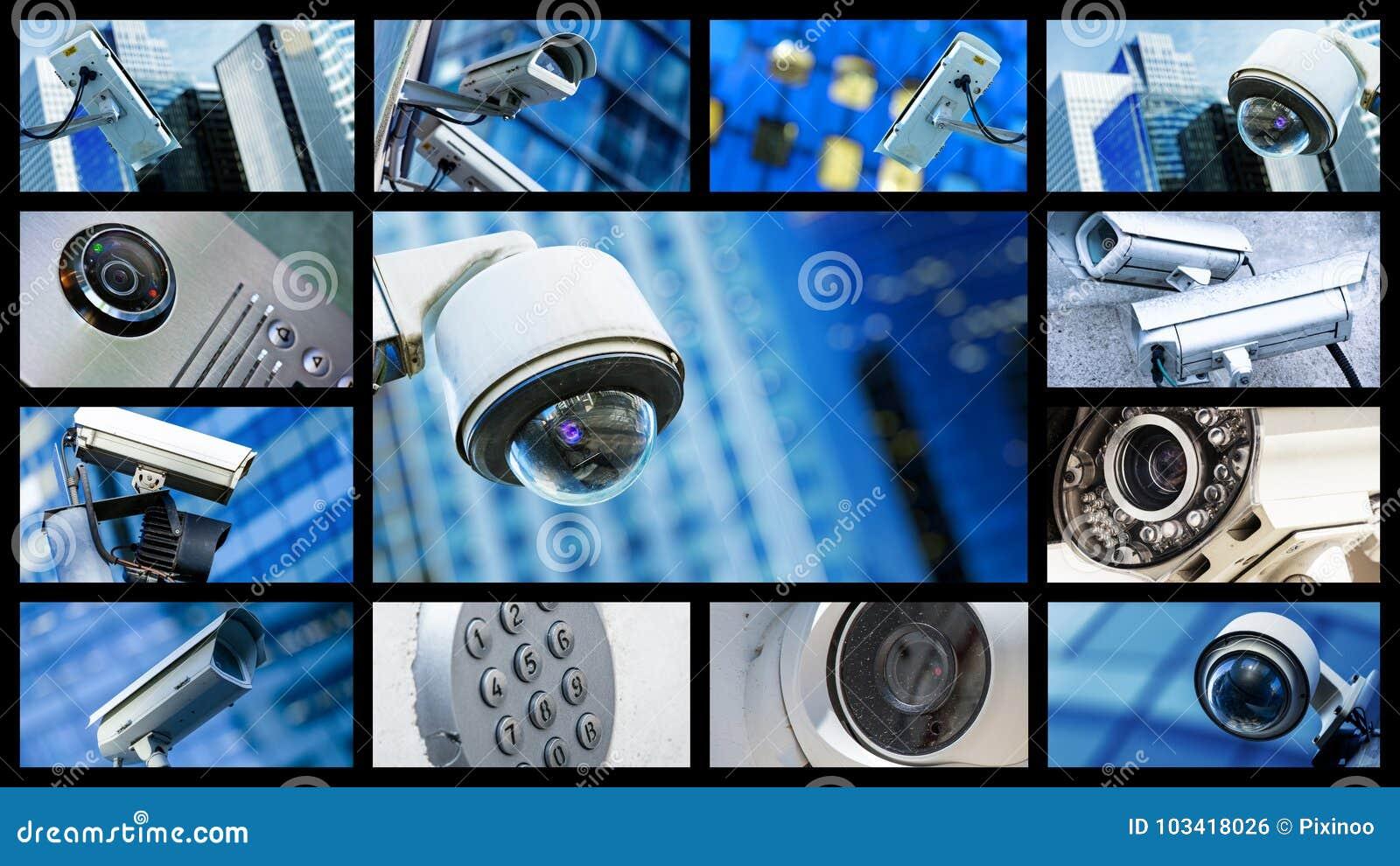 特写镜头安全CCTV照相机或监视系统全景拼贴画