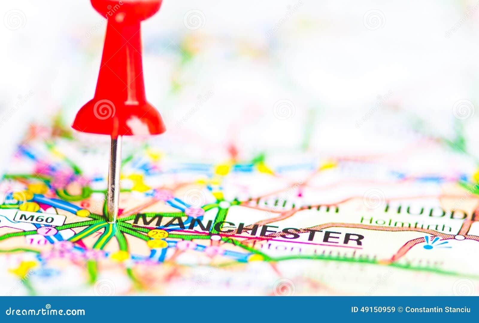 特写镜头射击了在地图,英国的曼城队