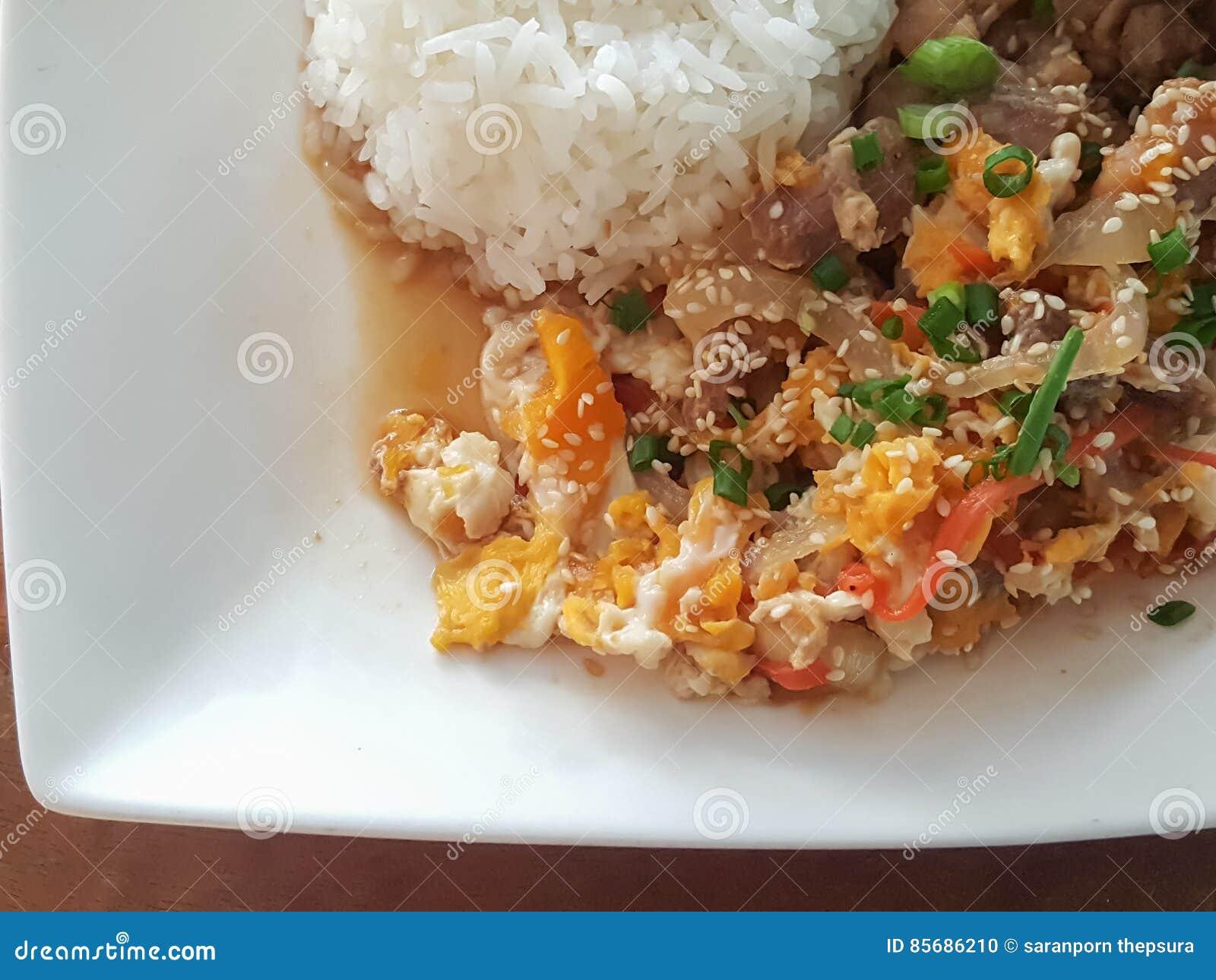 特写镜头,泰国食物样式:& x22; Kaow Moo大桶垫Thai& x22; fied猪肉,鸡蛋