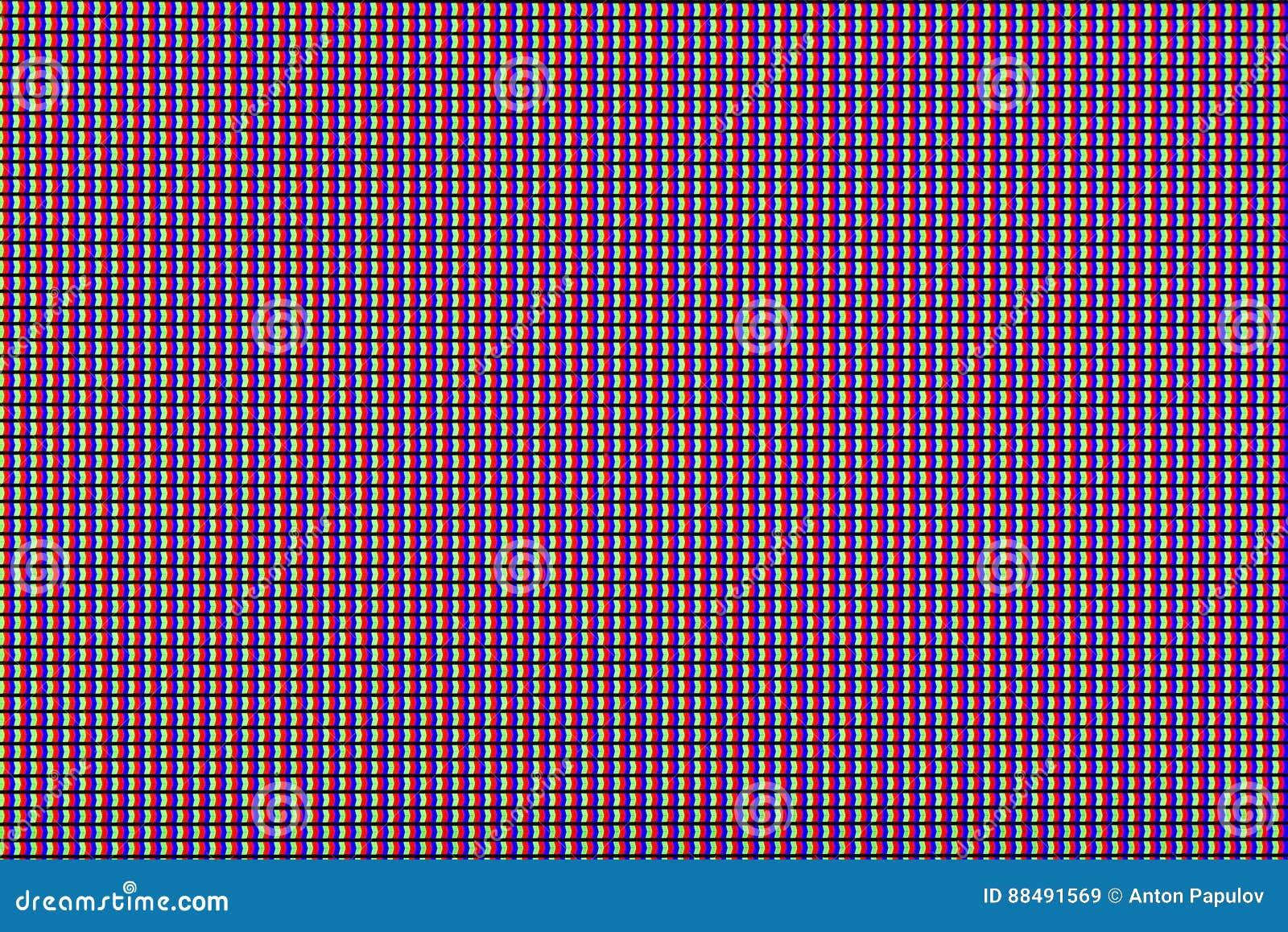 特写镜头RGB带领了被带领的电视二极管或带领了显示器屏幕显示板 设计的五颜六色的被带领的屏幕背景与拷贝