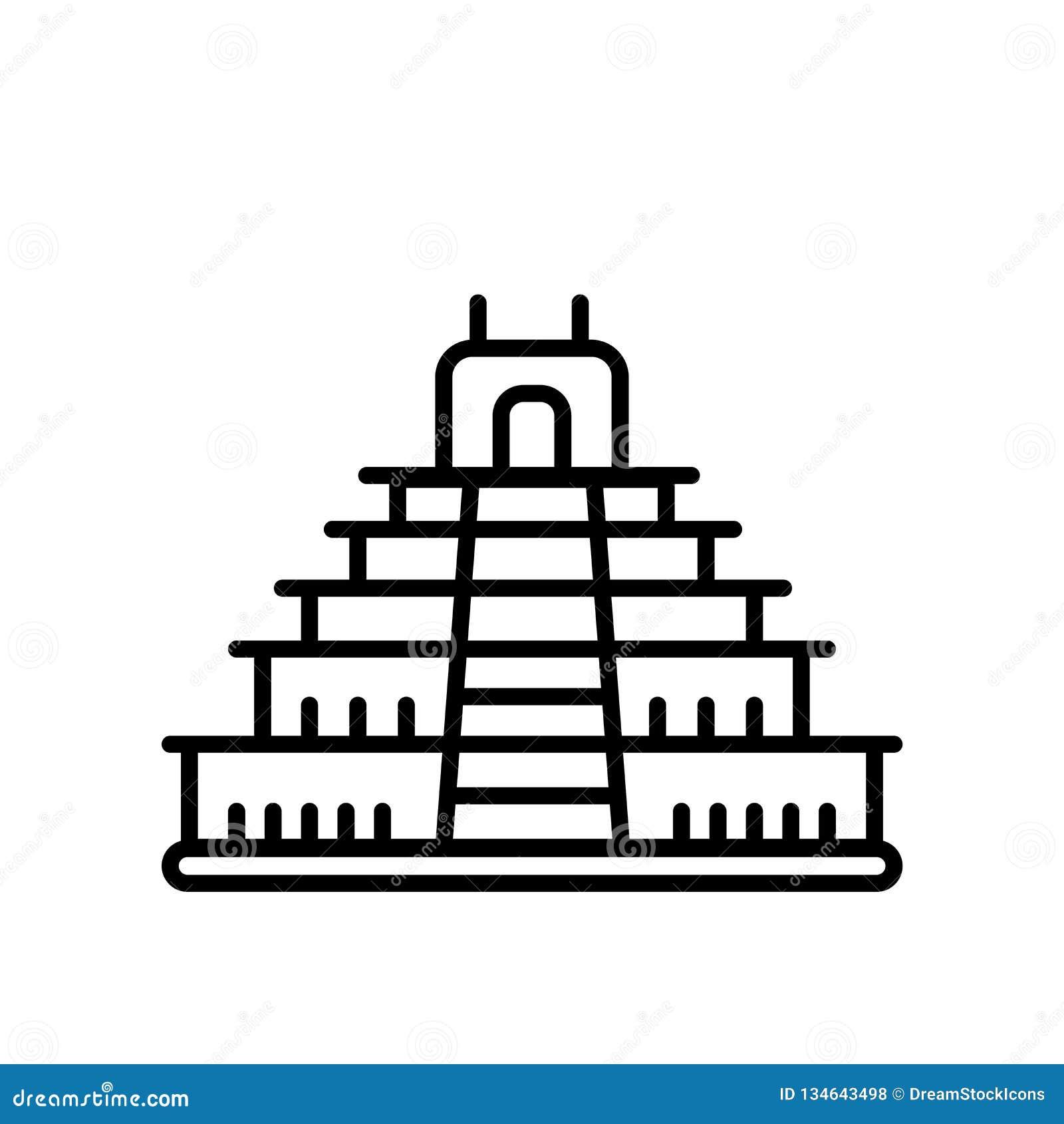 特奥蒂瓦坎在白色背景、特奥蒂瓦坎标志、线或者线性标志隔绝的象传染媒介,在概述样式的元素设计